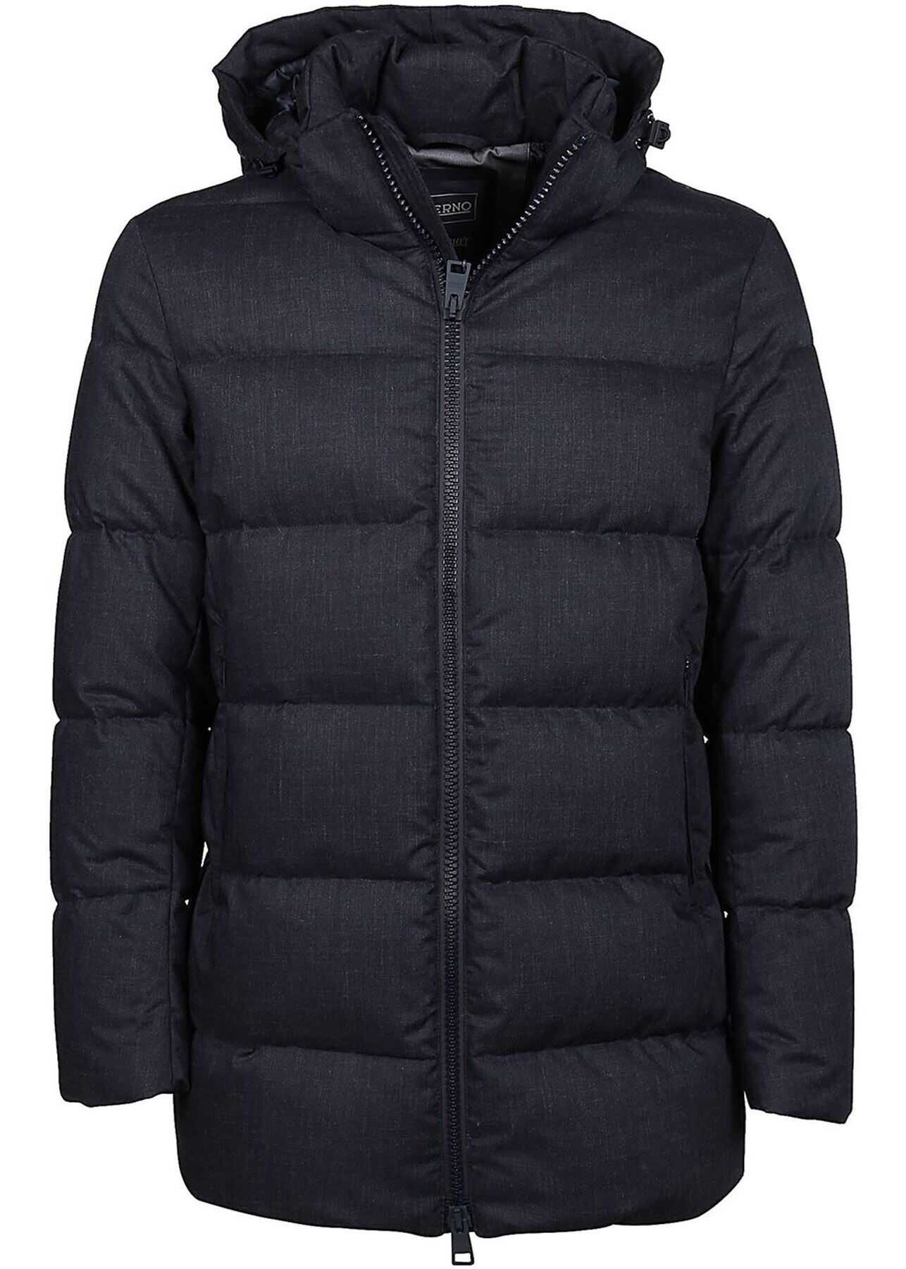Herno Quilted Blue Down Jacket Featuring Hood Blue imagine