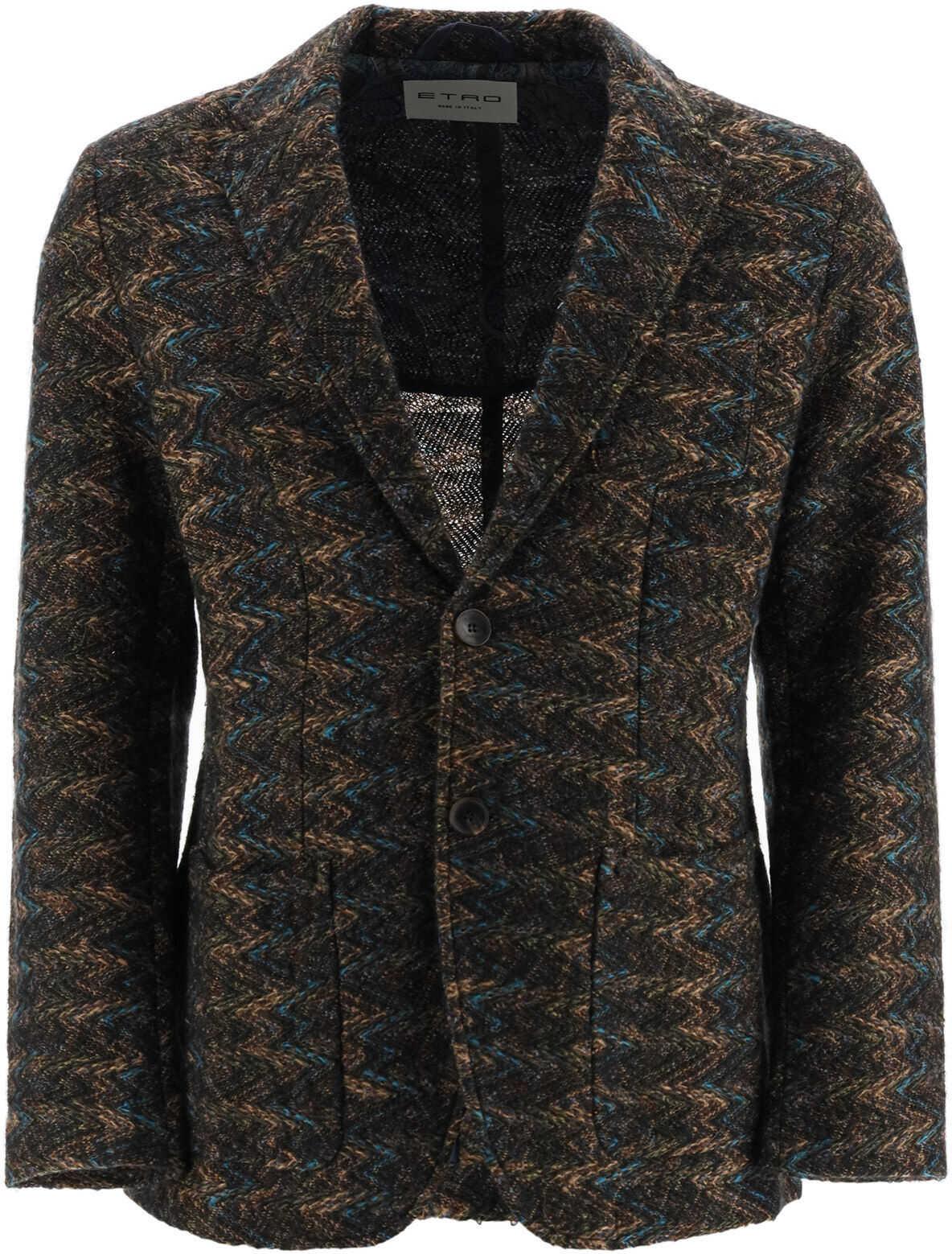 ETRO Jacquard Knit Blazer MARRONE imagine