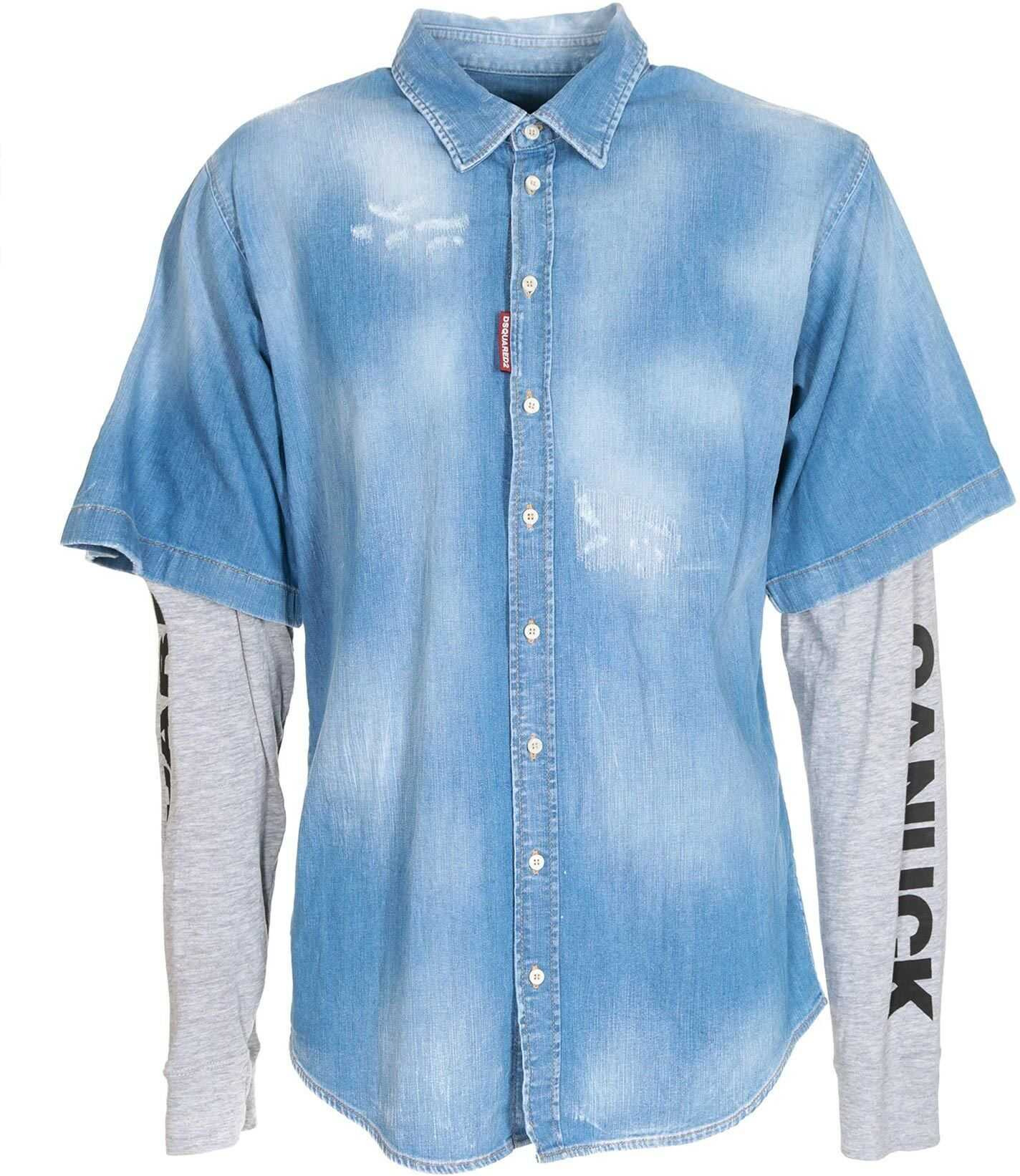 DSQUARED2 Denim Shirt With Jersey Sleeves Light Blue imagine