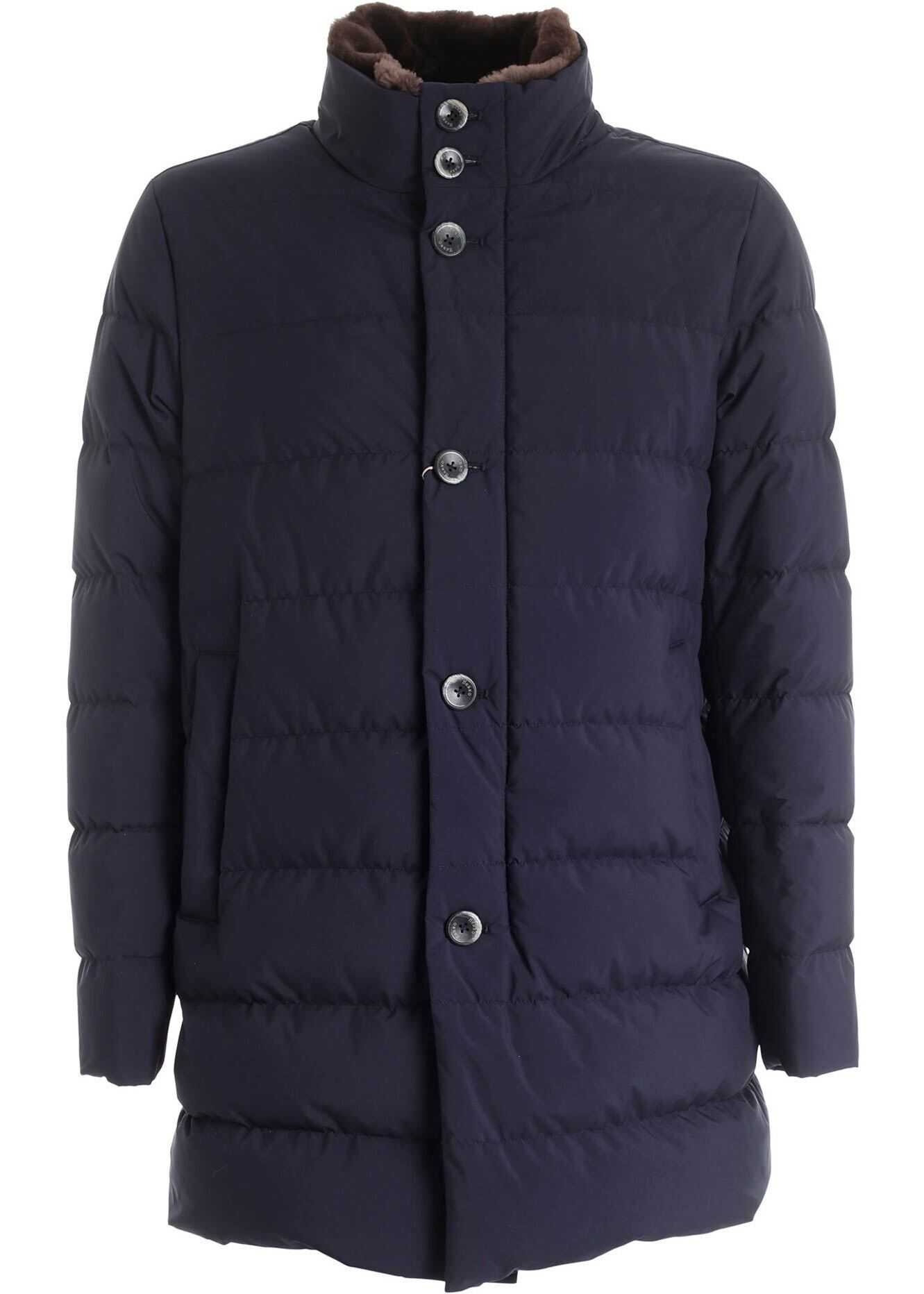 Herno Resort Blue Down Jacket Featuring Fur Blue imagine