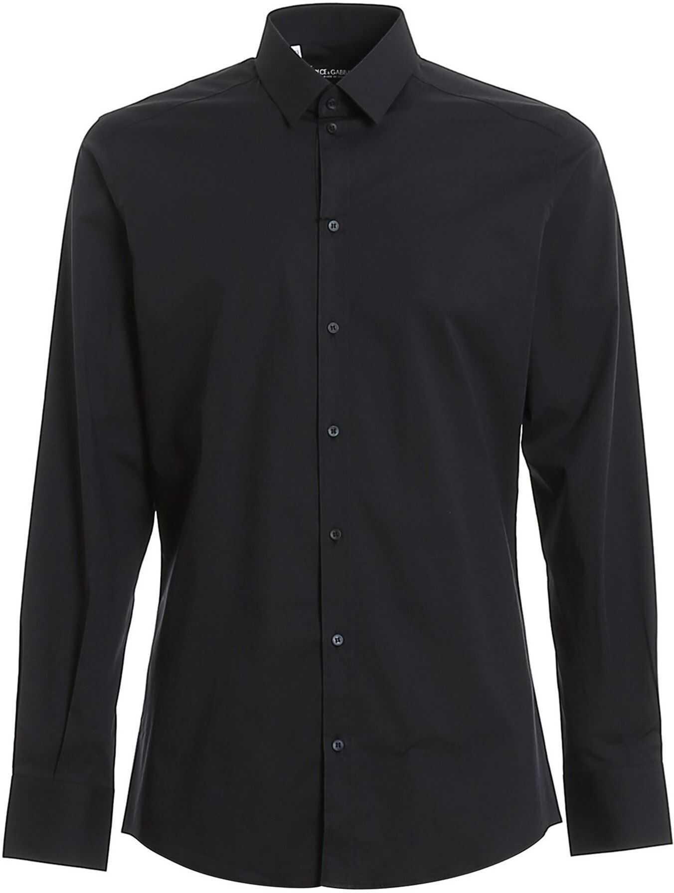 Dolce & Gabbana Stretch Cotton Shirt In Blue Blue imagine
