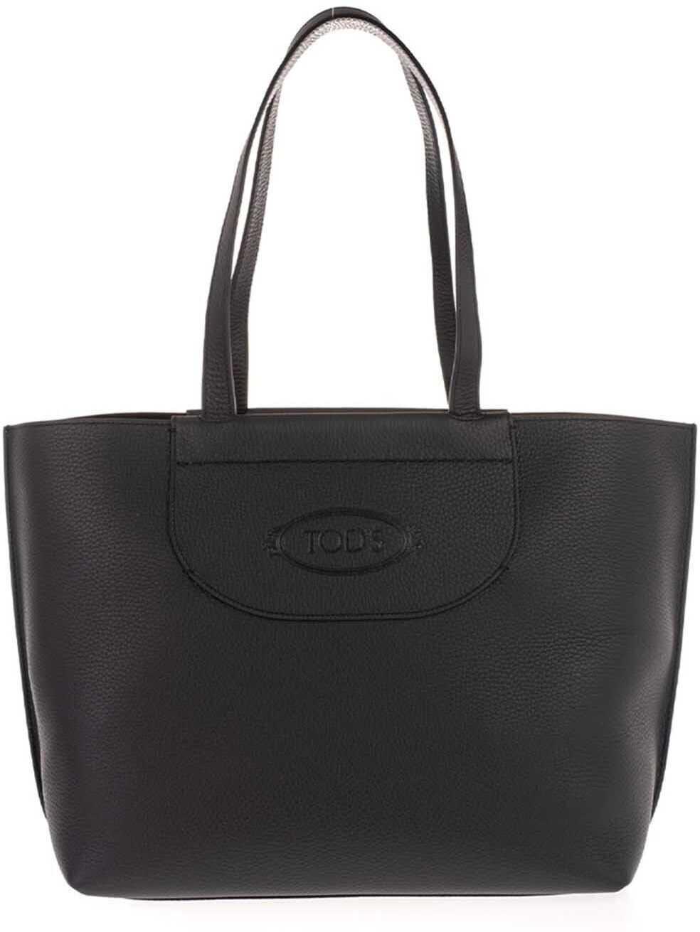TOD'S Medium Shopper Bag In Black XBWAOLA0300RIAB999 Black imagine b-mall.ro