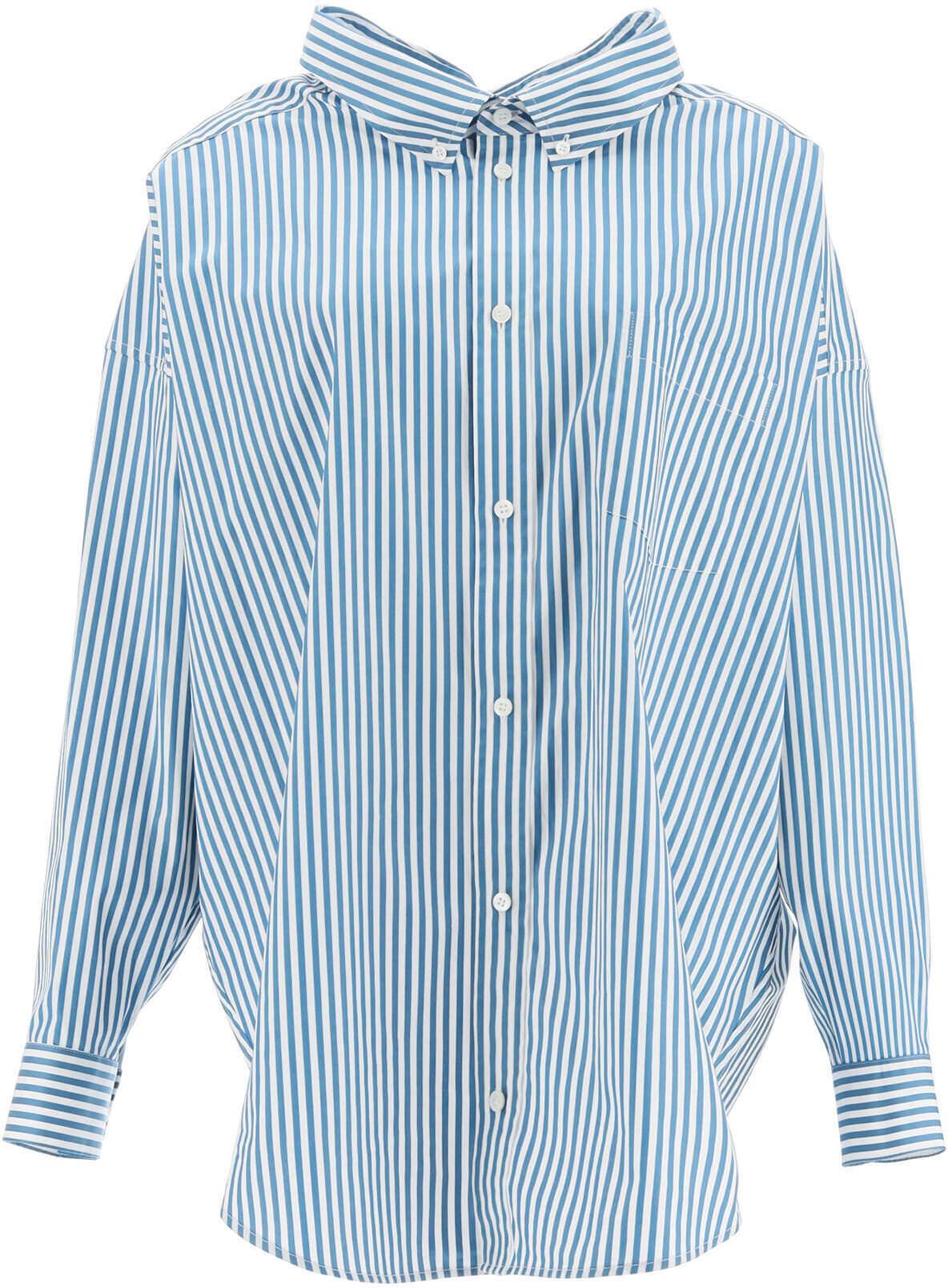 Balenciaga Maxi Swing Shirt With Logo 622050 TIM17 PETROL BLUE WHITE image0