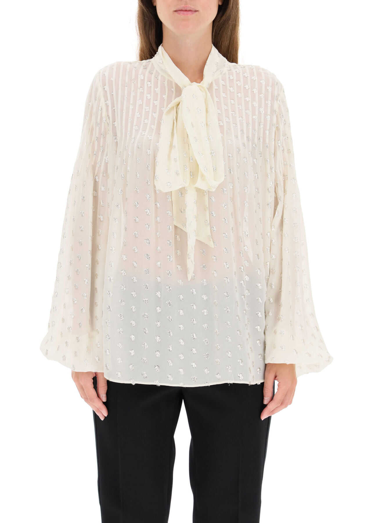 Self-Portrait Fil Coupe Shirt With Lavalliere AW20 029A IVORY image0