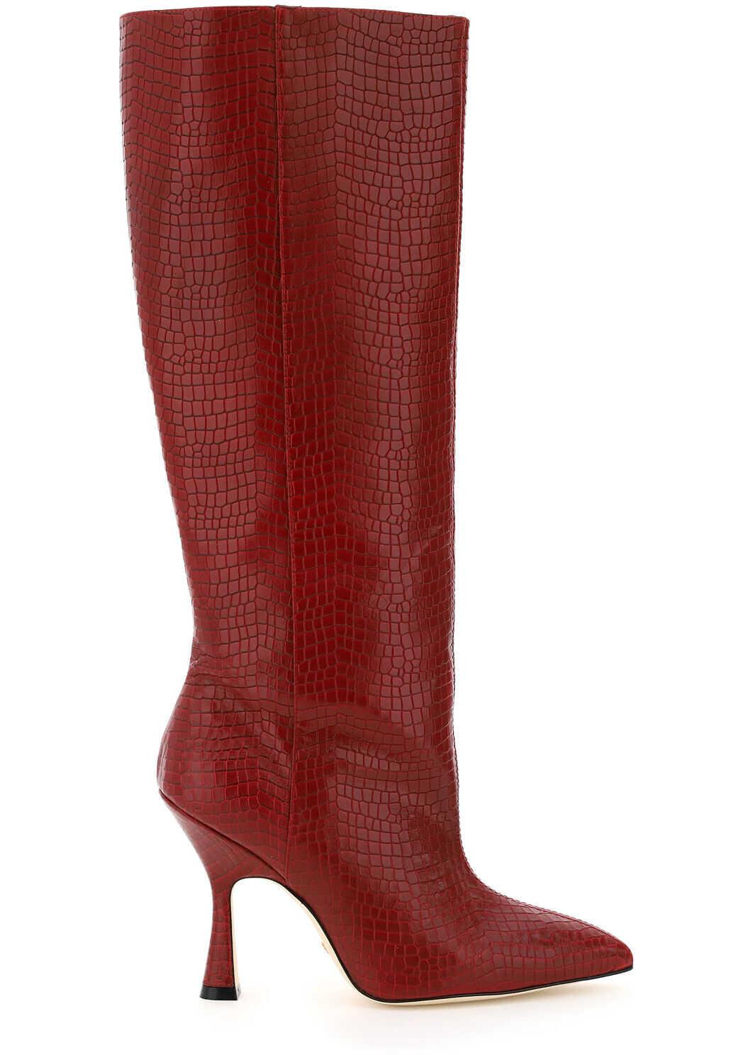 Stuart Weitzman Parton Crocodile Embossed Leather Boots PARTON CHILI imagine b-mall.ro