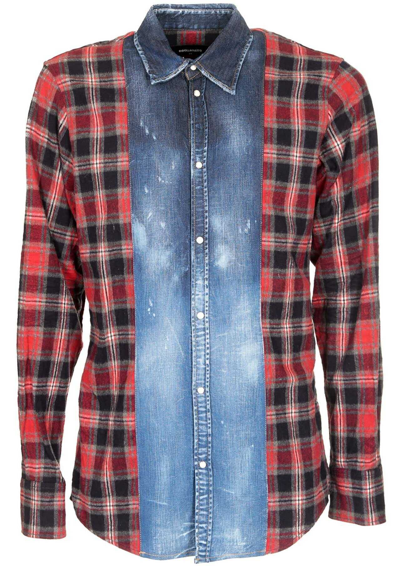 DSQUARED2 Denim Shirt With Red Check Insert Blue imagine