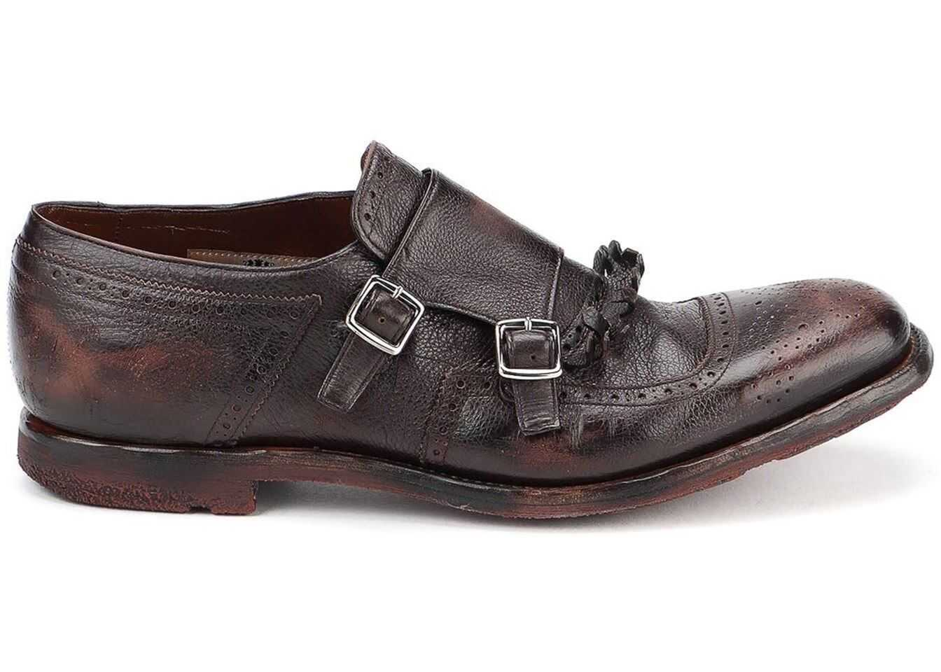 Church's Shangai 10 Used Effect Monk Straps In Brown EOG0099 PW F0AEV Brown imagine b-mall.ro