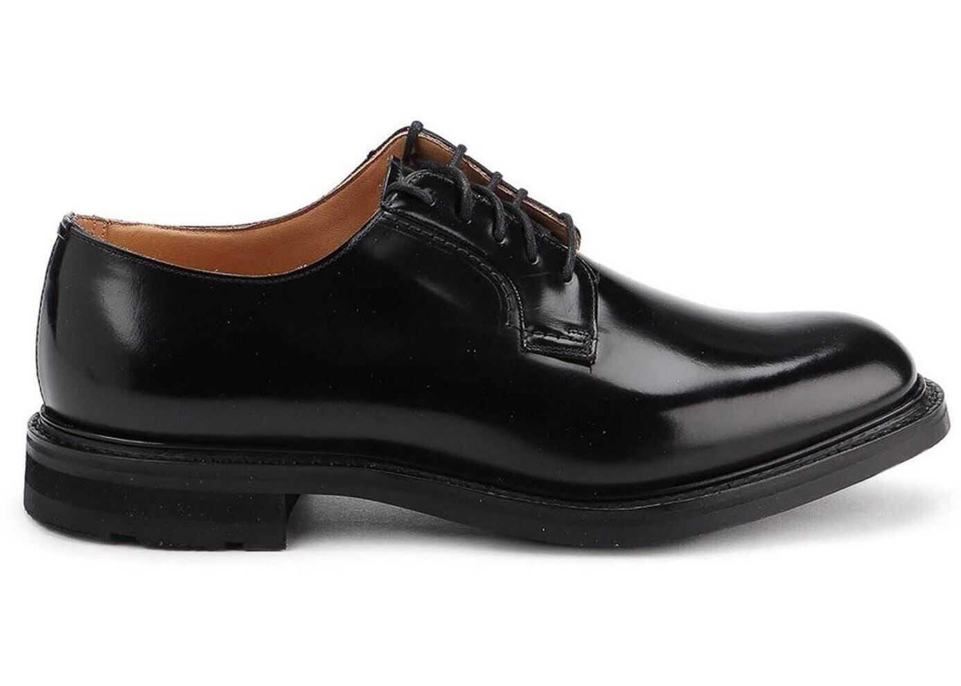 Church's Woodbridge Polished Leather Derby Shoes In Black EEC185 9XV F0CY2 Black imagine b-mall.ro