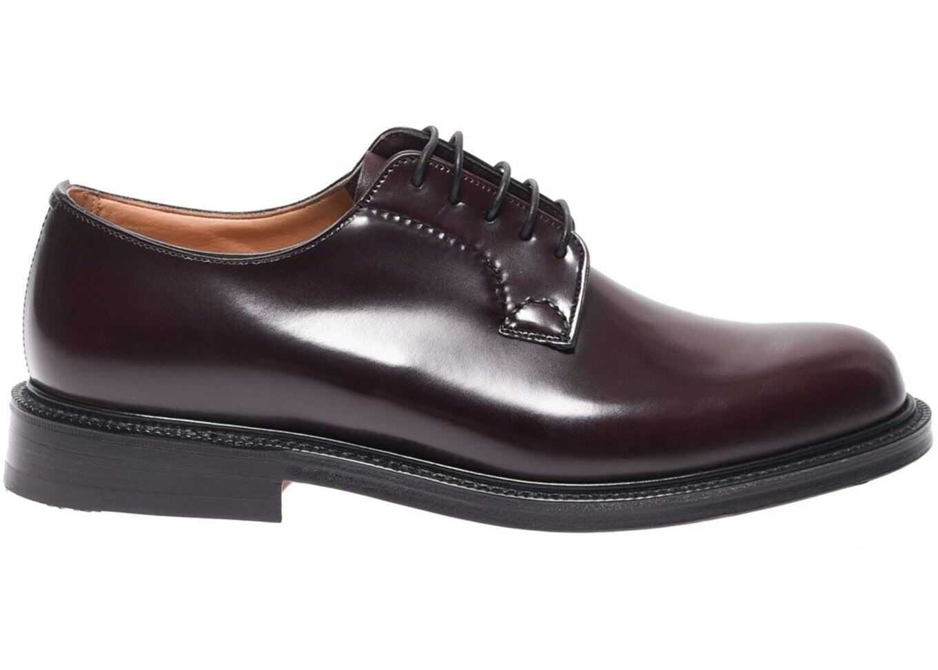 Church's Shannon Glossy Burgundy Leather Derby Shoes EEB001 9XV F0ADY Red imagine b-mall.ro