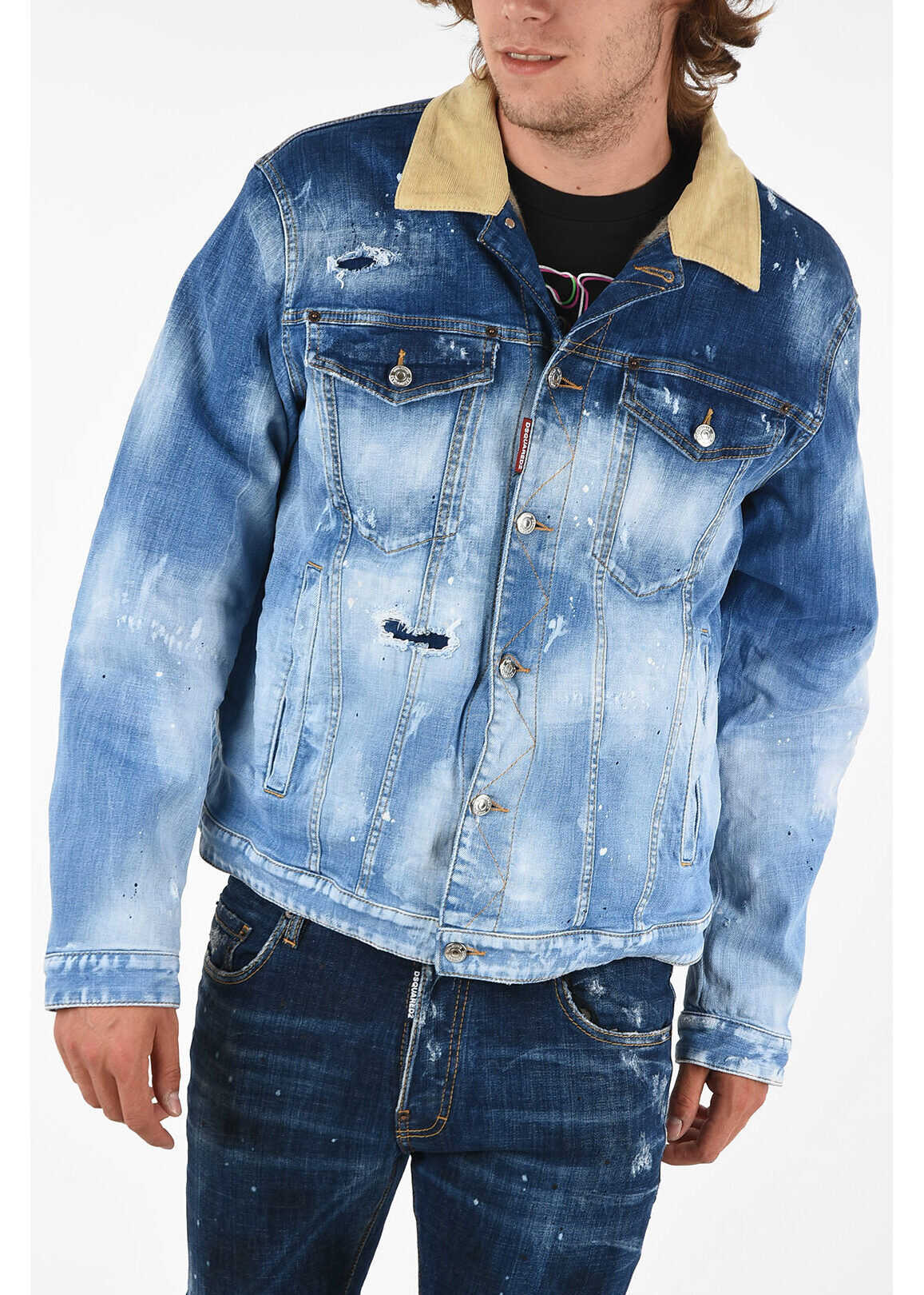 DSQUARED2 Denim Effetto Vintage Jacket BLUE imagine