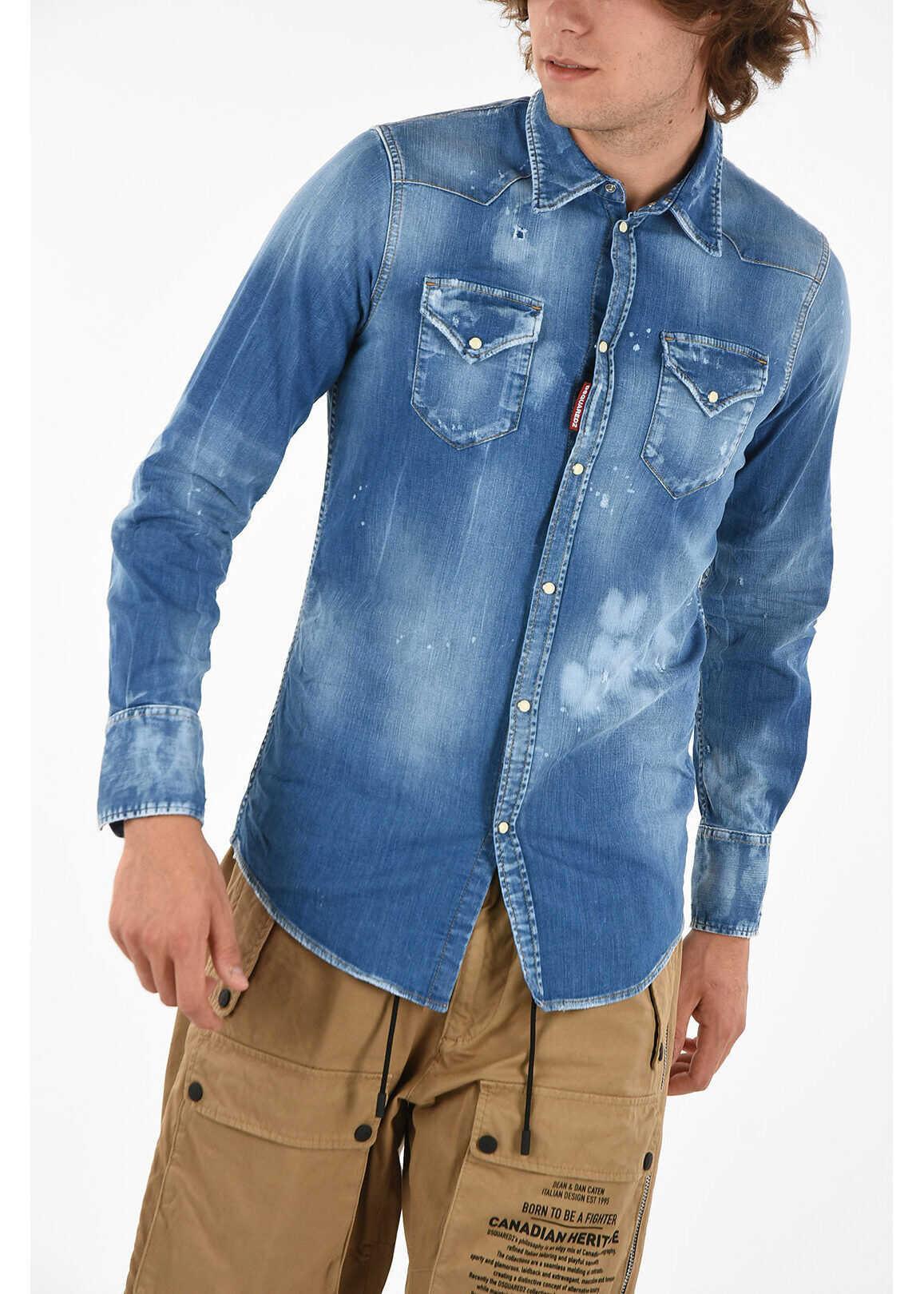DSQUARED2 Denim CLASSIC WESTERN FIT Shirt BLUE imagine