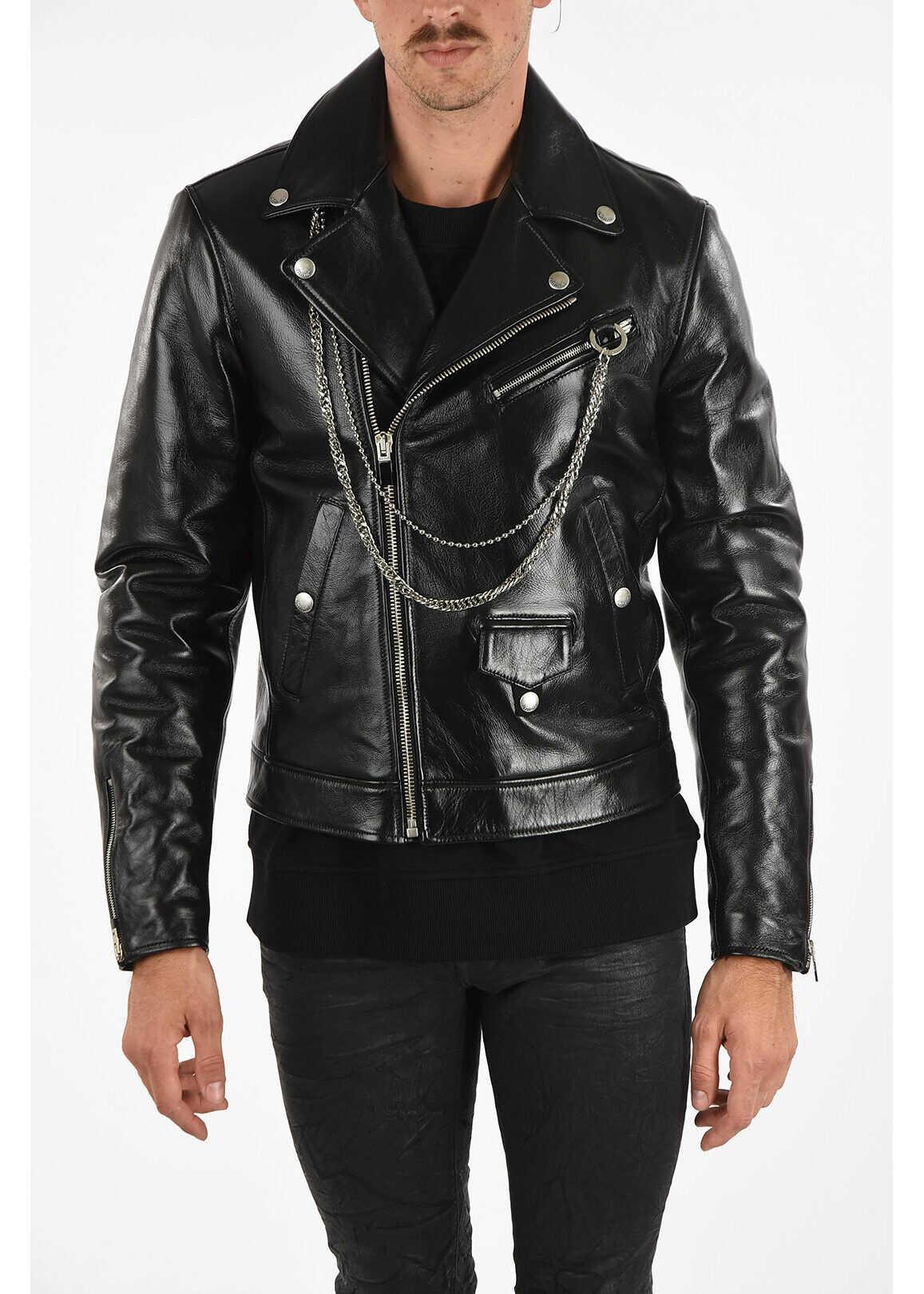 Just Cavalli Leather Biker Jacket with Chain BLACK imagine