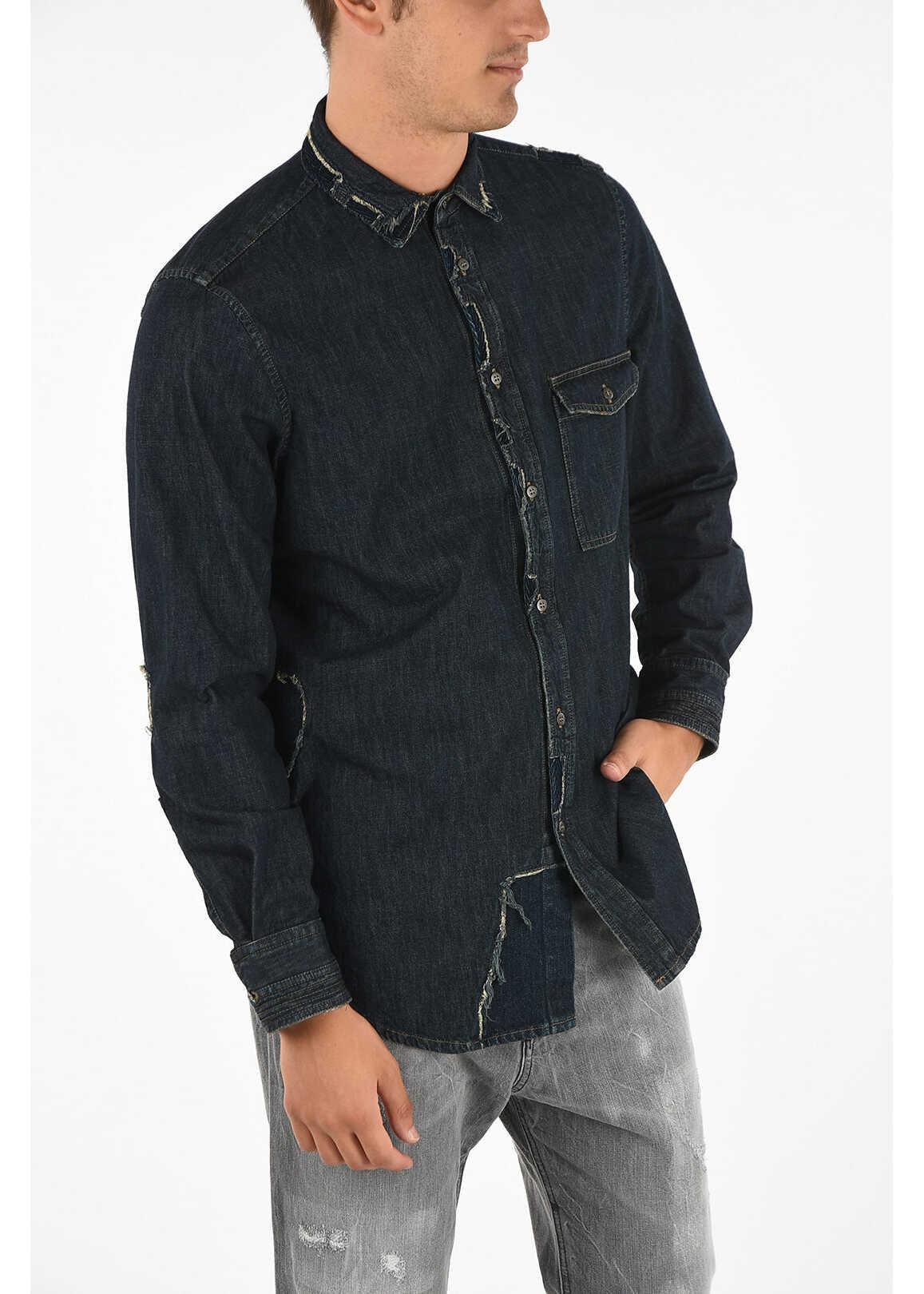 Diesel BLACK GOLD Denim SEROI-DEN Shirt BLUE imagine