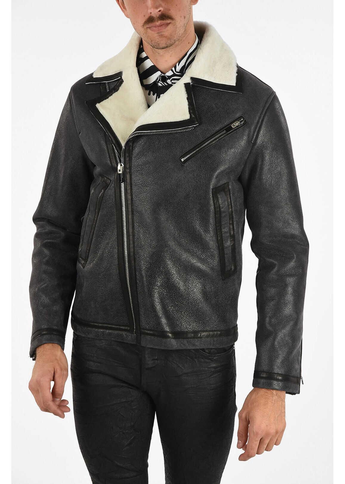 Just Cavalli Leather Biker Jacket GRAY imagine