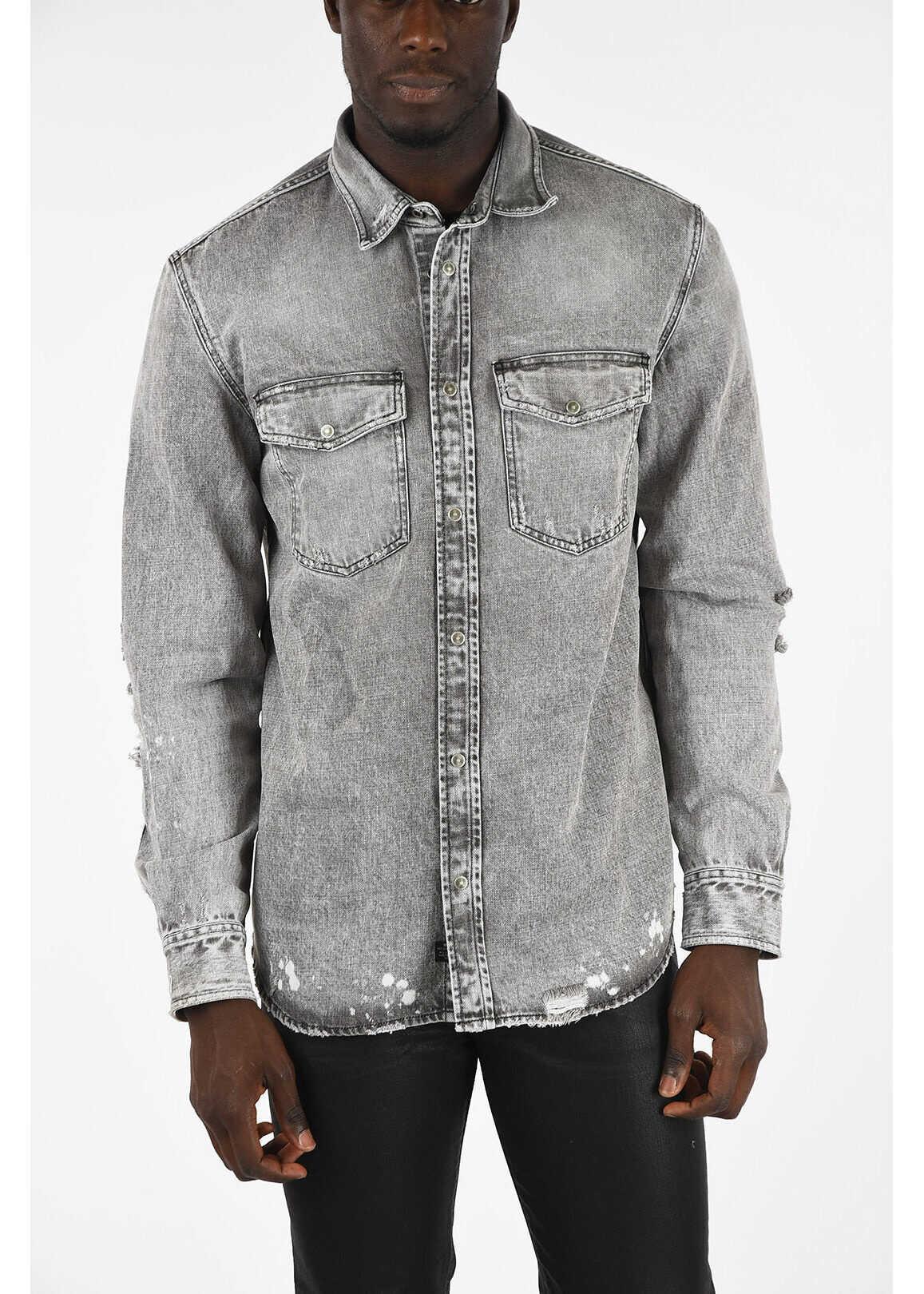 Diesel Denim Vintage Effect D-ROOKE-L Shirt GRAY imagine