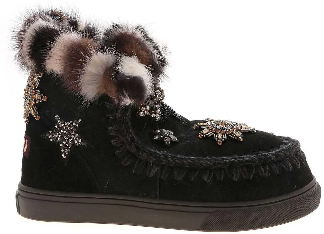 Mou Eskimo Star Patches And Mink Fur Sneakers In Black MU.FW111006A BKBK Black imagine b-mall.ro