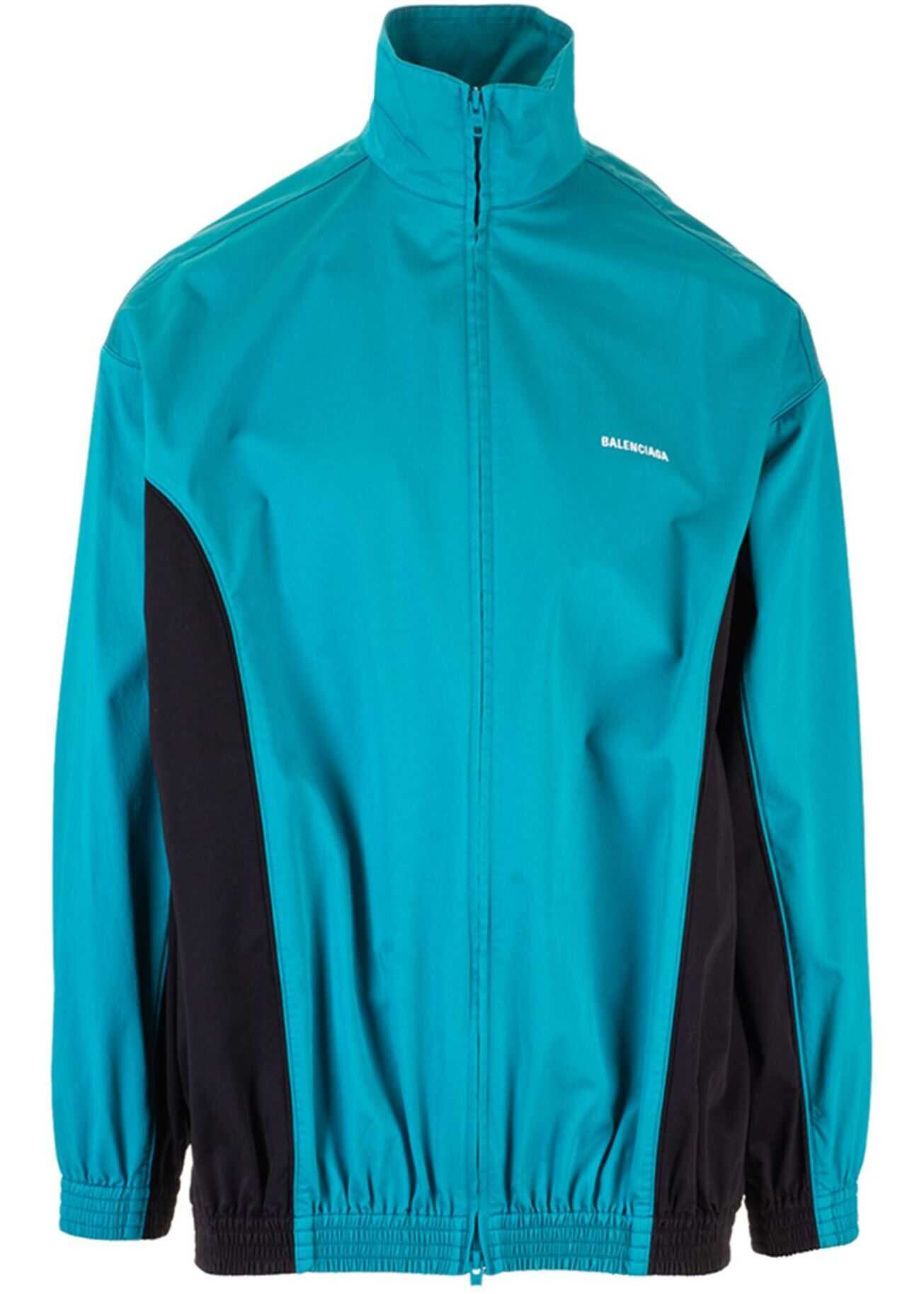 Zip-Up Jacket In Turquoise And Black