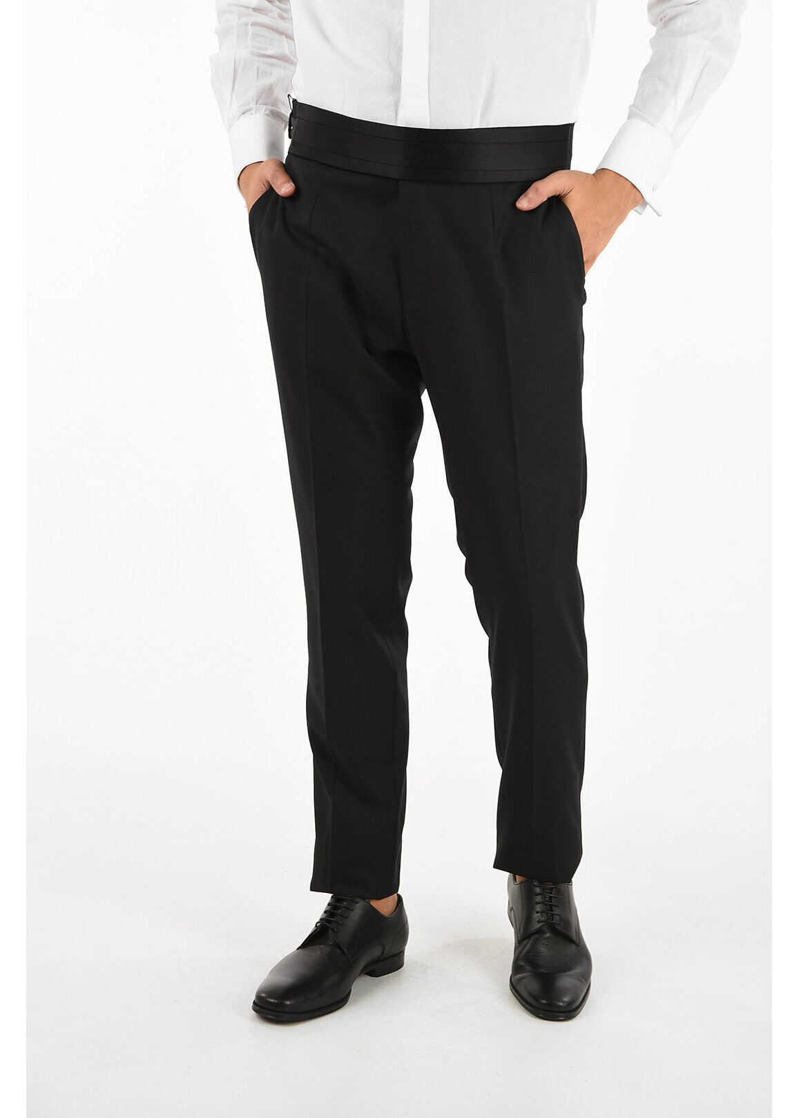 Dolce & Gabbana Virgin wool and silk pants with belt BLACK imagine