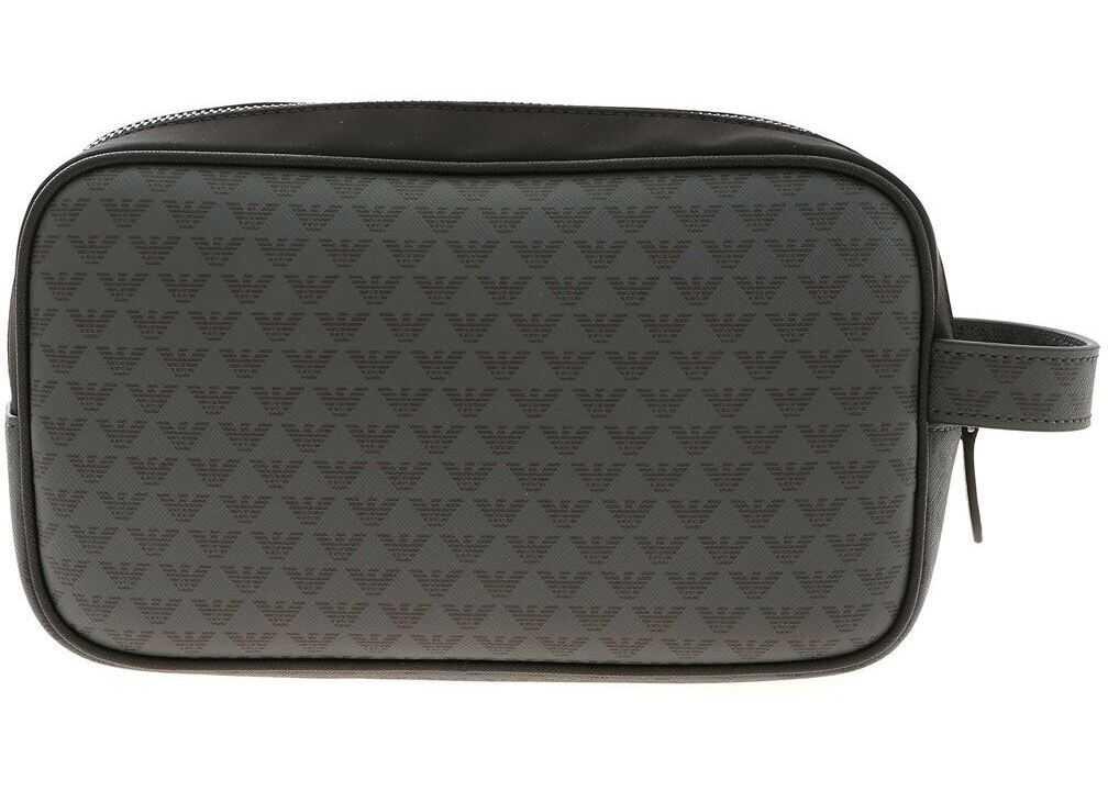 Emporio Armani All-Over Logo Beauty Case In Grey And Black Y4R249 YG91J 81072 Grey imagine b-mall.ro