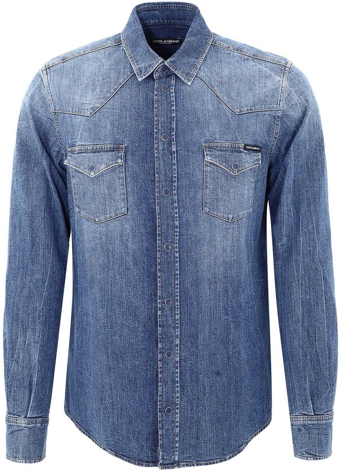 Dolce & Gabbana Denim Shirt In Blue Blue imagine