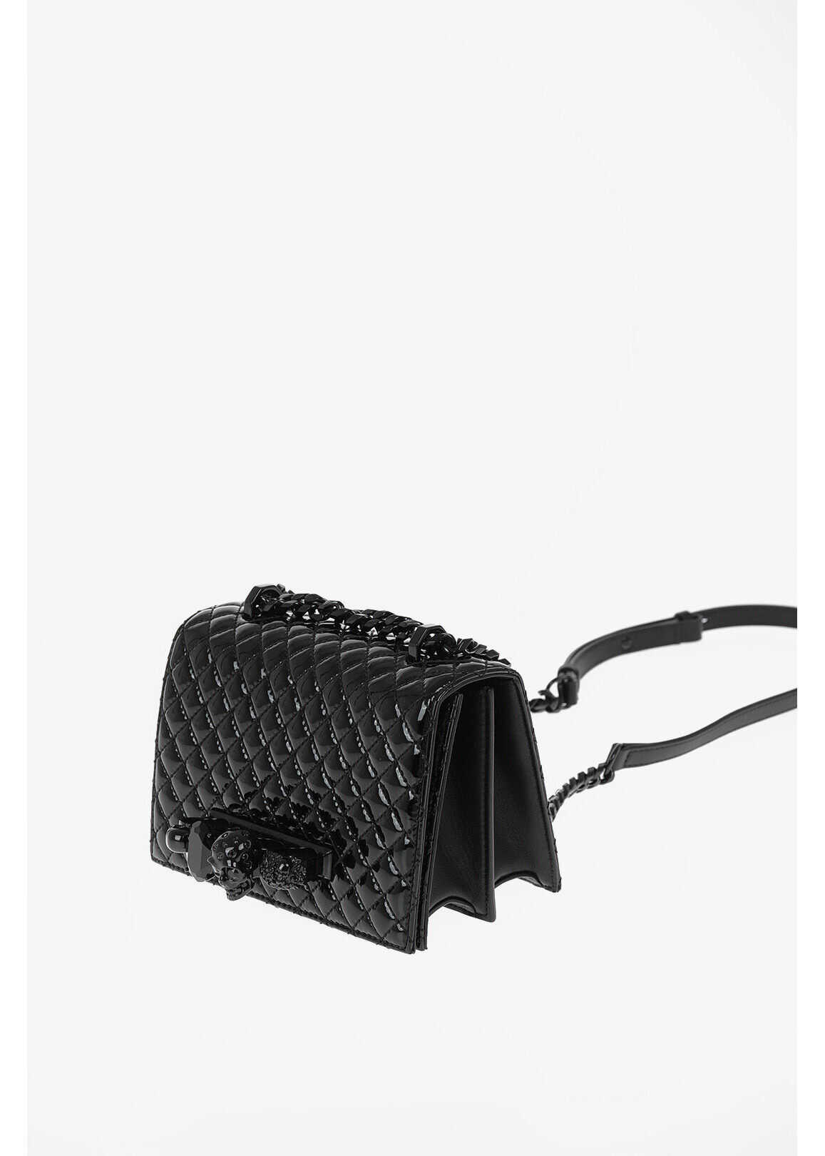 Alexander McQueen Quilted Lacquered Leather FOUR RING Shoulder Bag BLACK imagine b-mall.ro