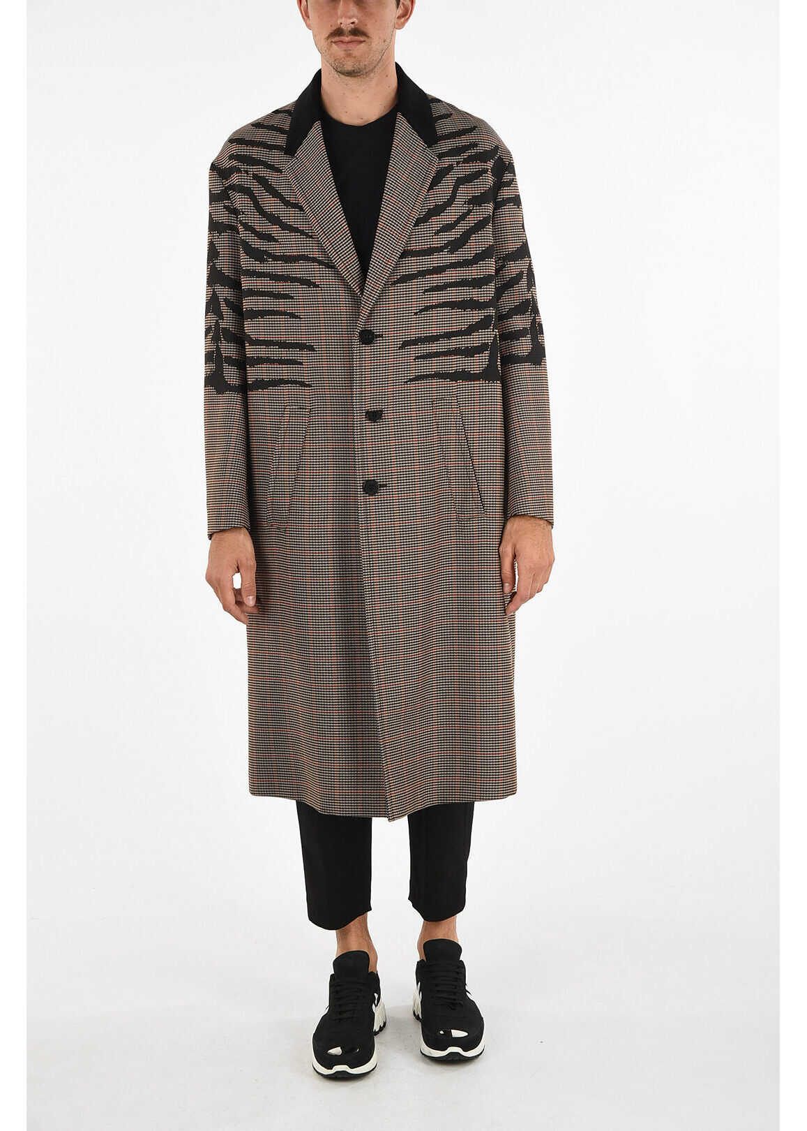 Neil Barrett Animal Printed and Prince of Wales 3 Button POW Coat BEIGE