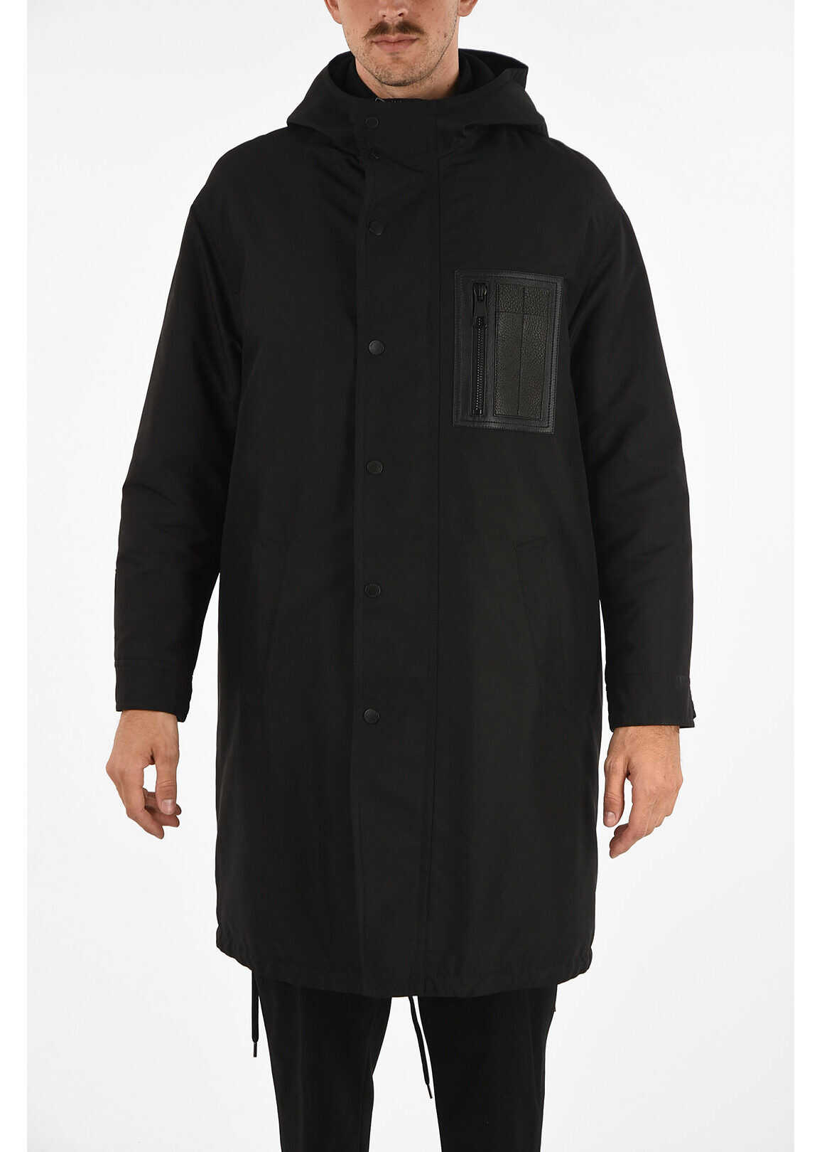 Neil Barrett Snap Button Oversized Parka BLACK imagine