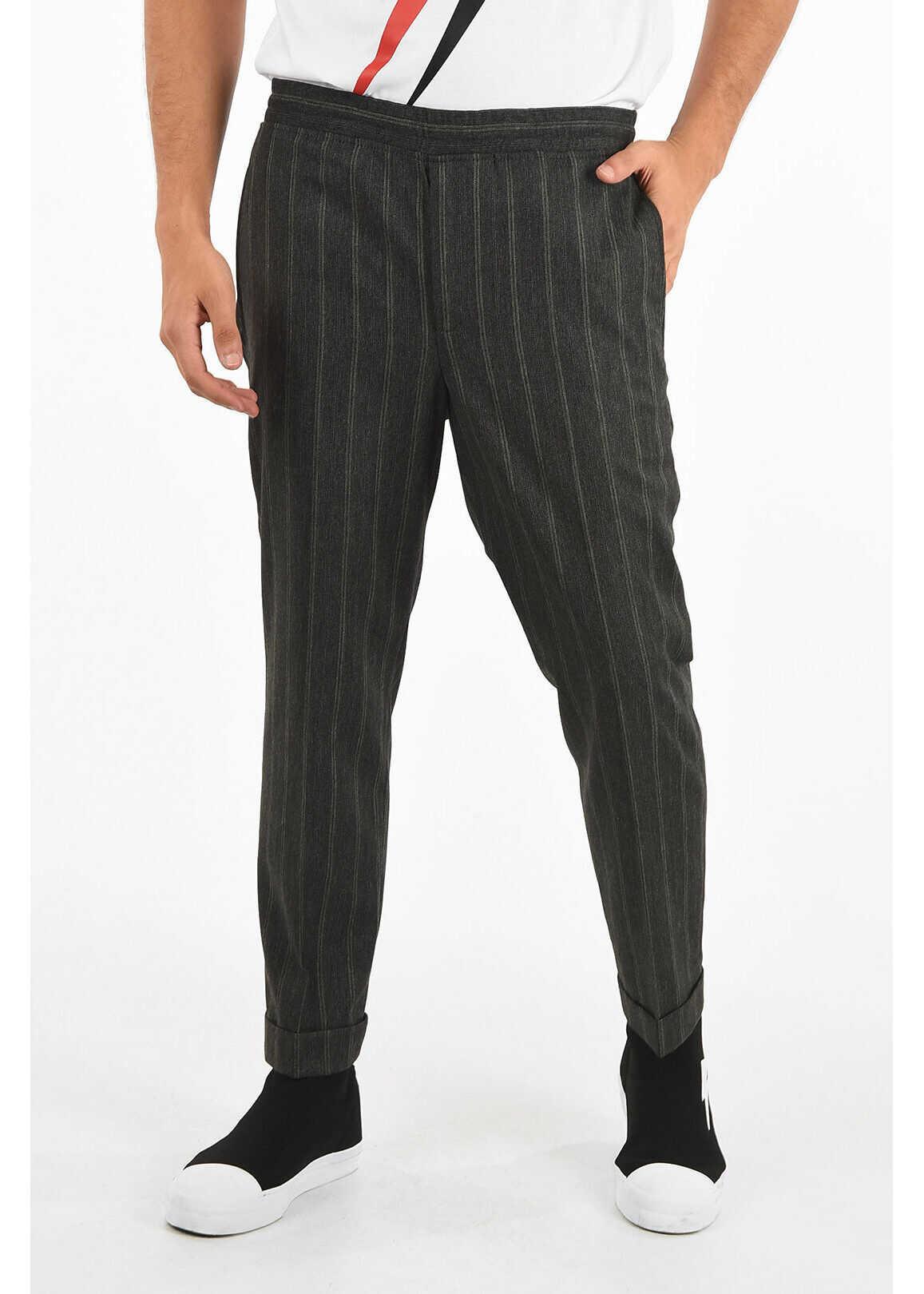 Neil Barrett Striped Slim Fit Pant GRAY imagine