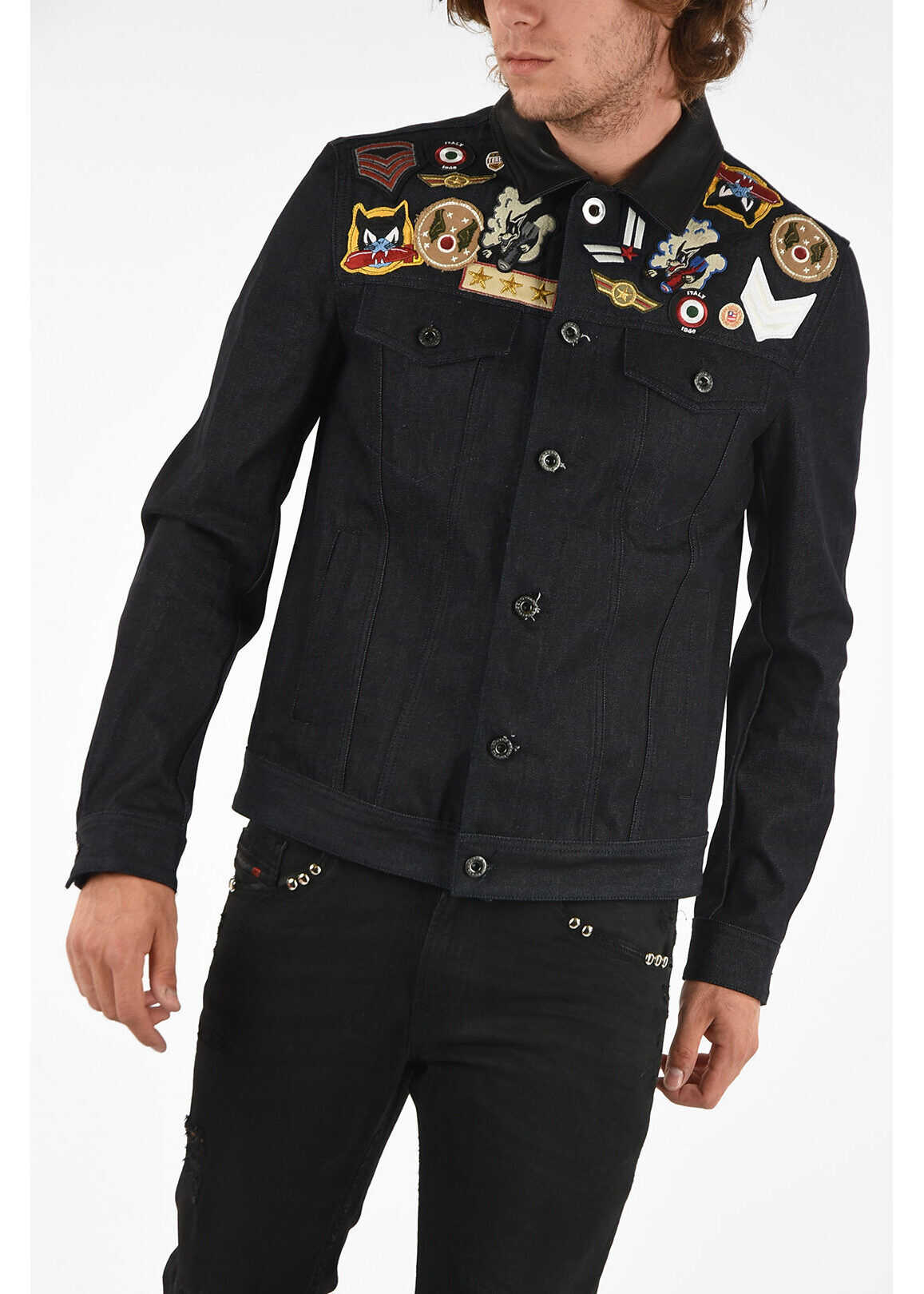 Diesel BLACK GOLD Denim JARTE-S Bomber with Embroidery BLUE imagine