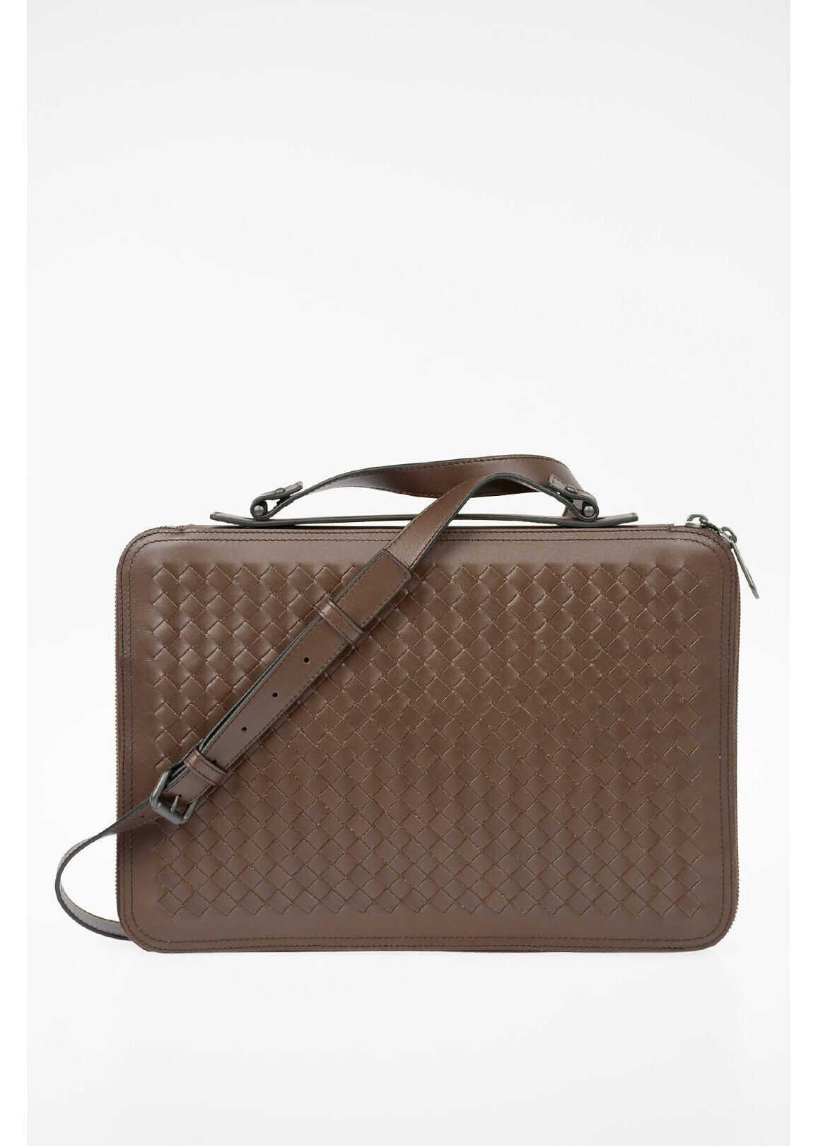 Bottega Veneta Braided Leather Briefcase BROWN imagine b-mall.ro