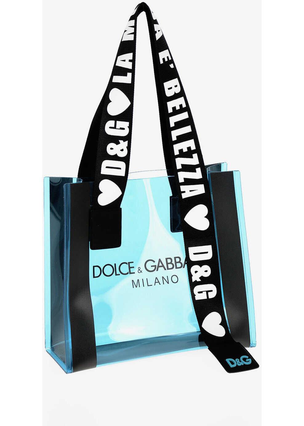 Dolce & Gabbana PVC Tote Bag BLUE imagine b-mall.ro