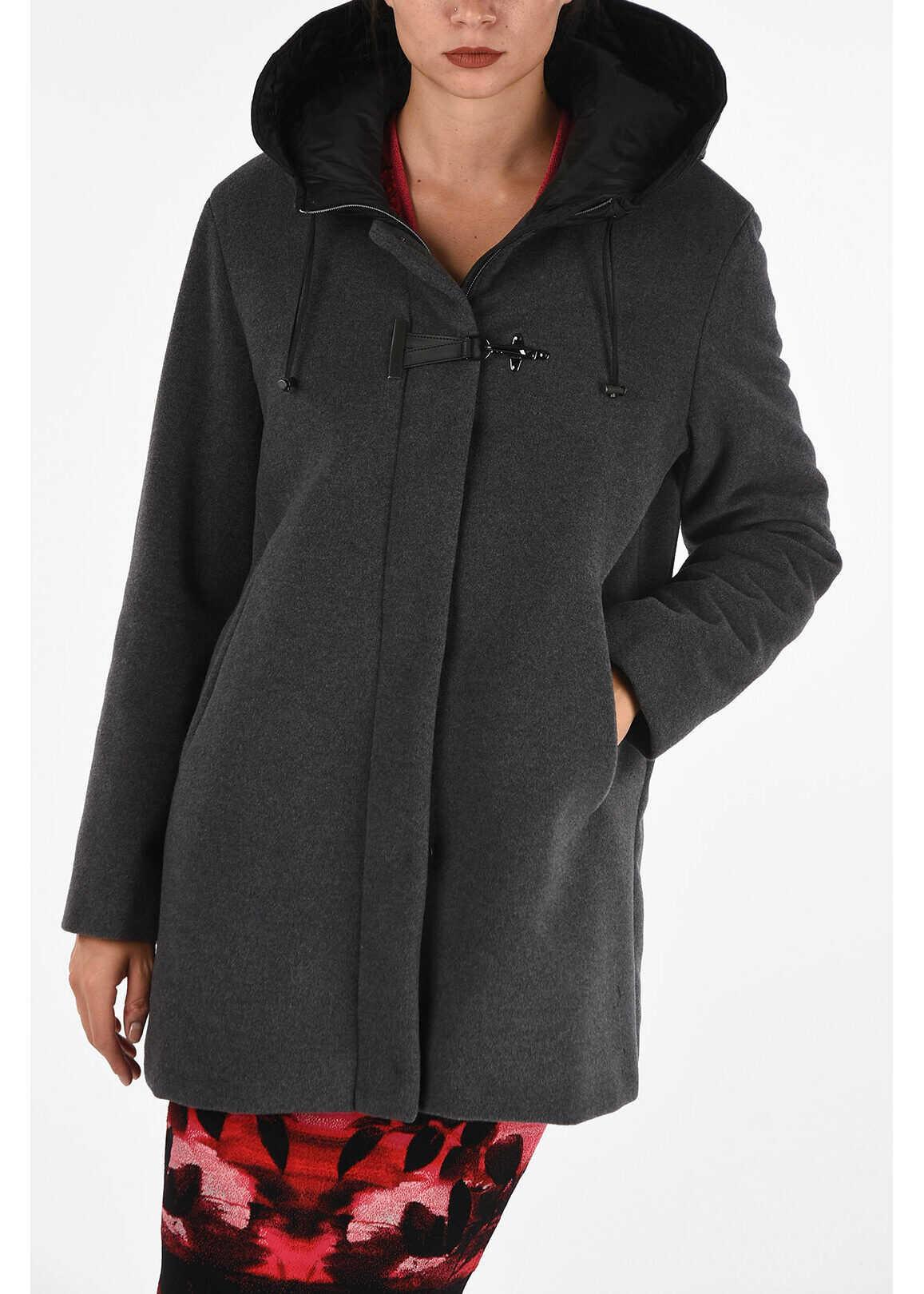 Fay virgin wool hooded outerwear GRAY