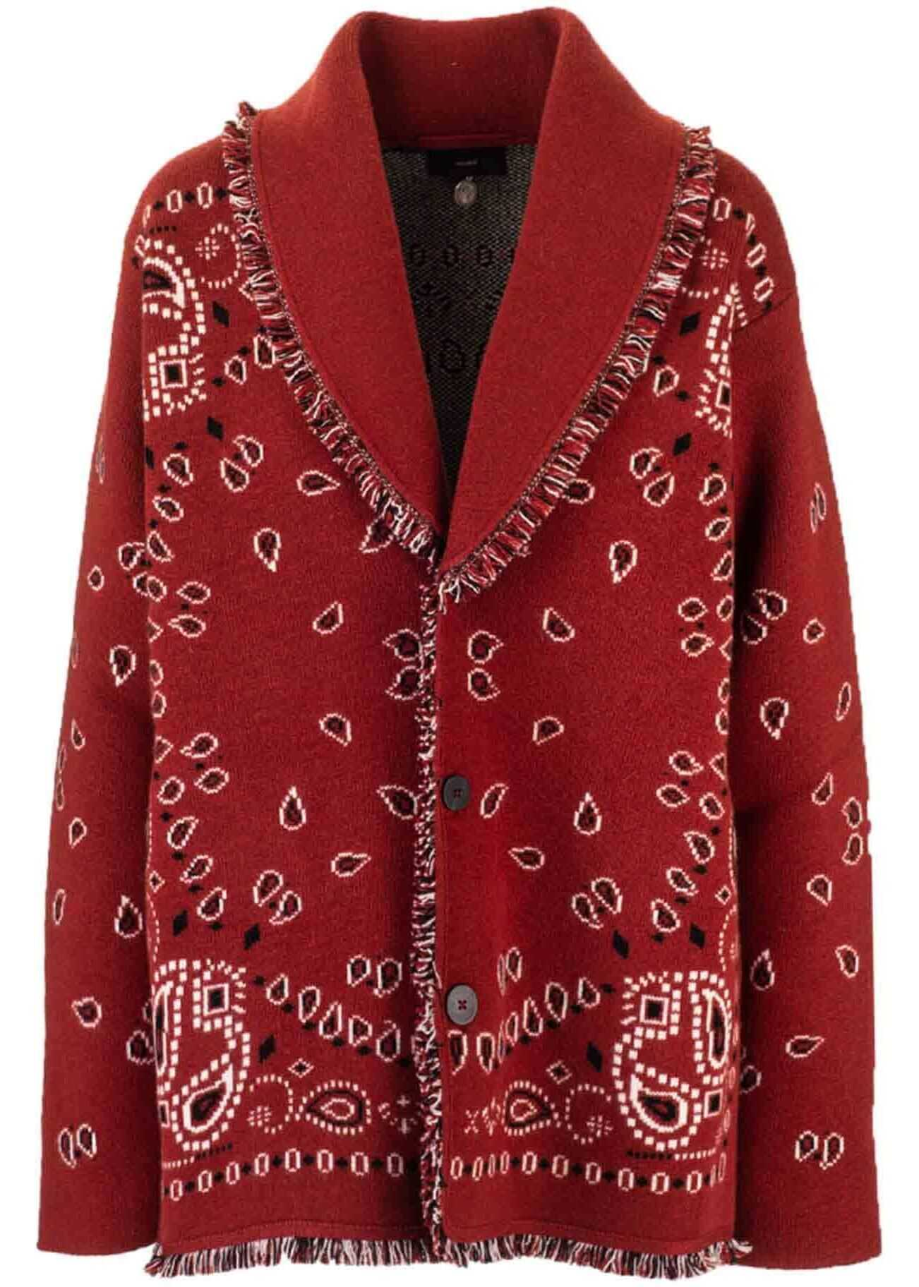 ALANUI Oversized Jacquard Cardigan In Red Red imagine