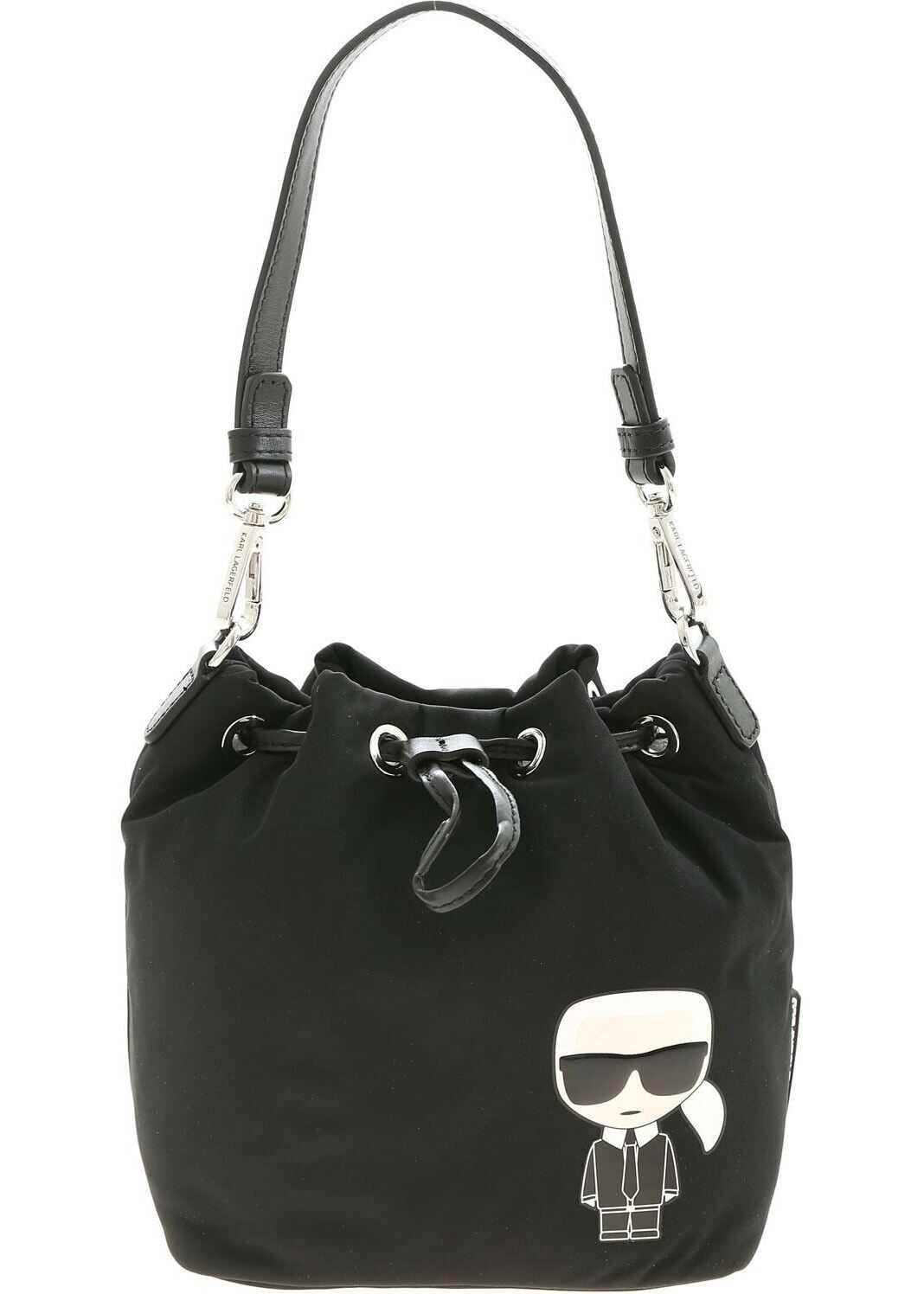 Karl Lagerfeld K/Ikonik Bucket Bag In Black 205W3017 999 Black imagine b-mall.ro