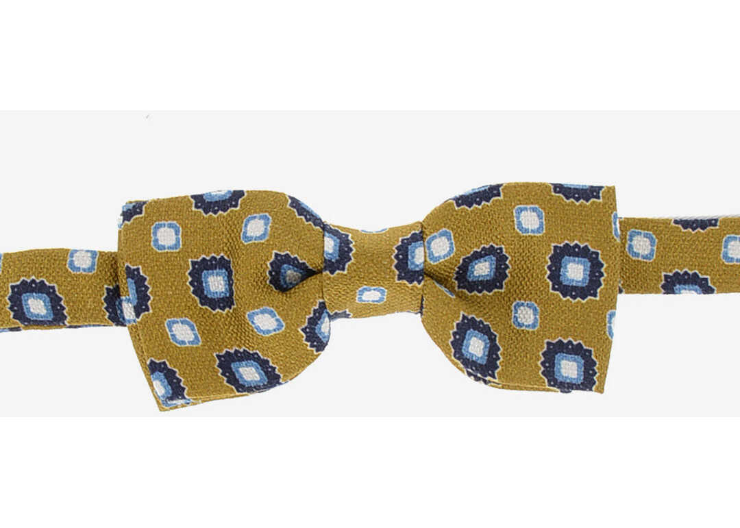 CORNELIANI CC COLLECTION Linen and Silk Printed Bow Tie BROWN