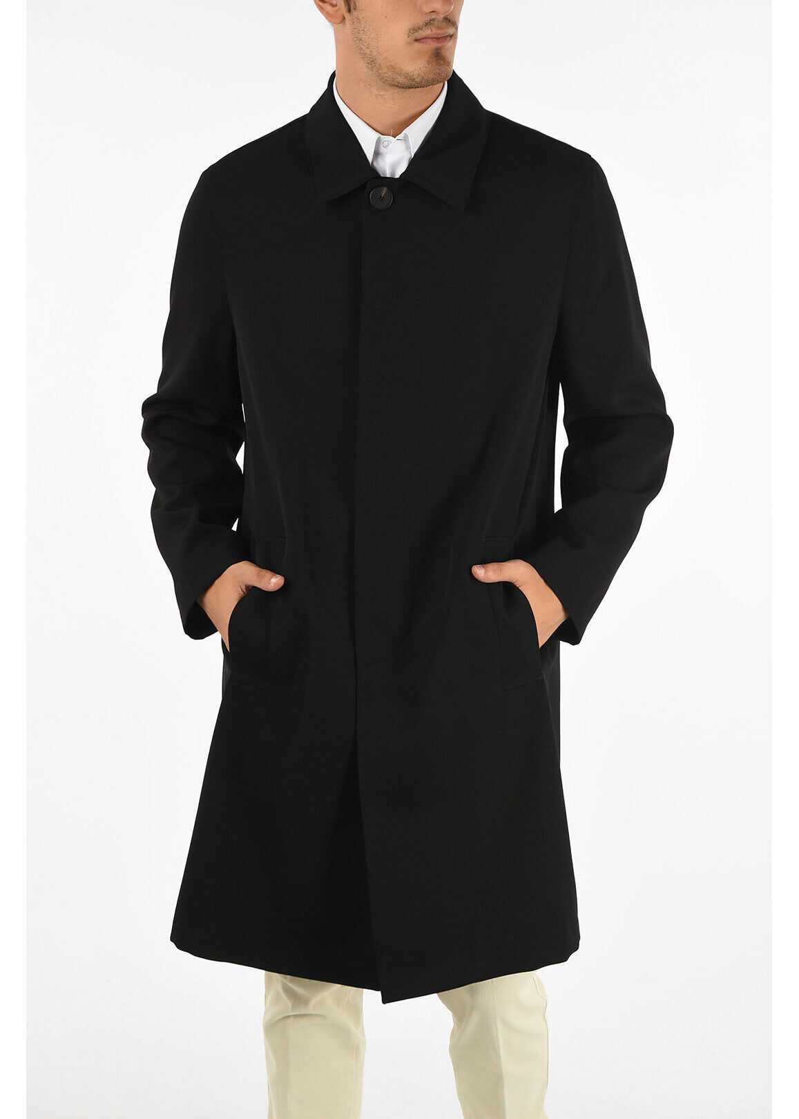Givenchy Wool Coat with Hidden Button BLACK