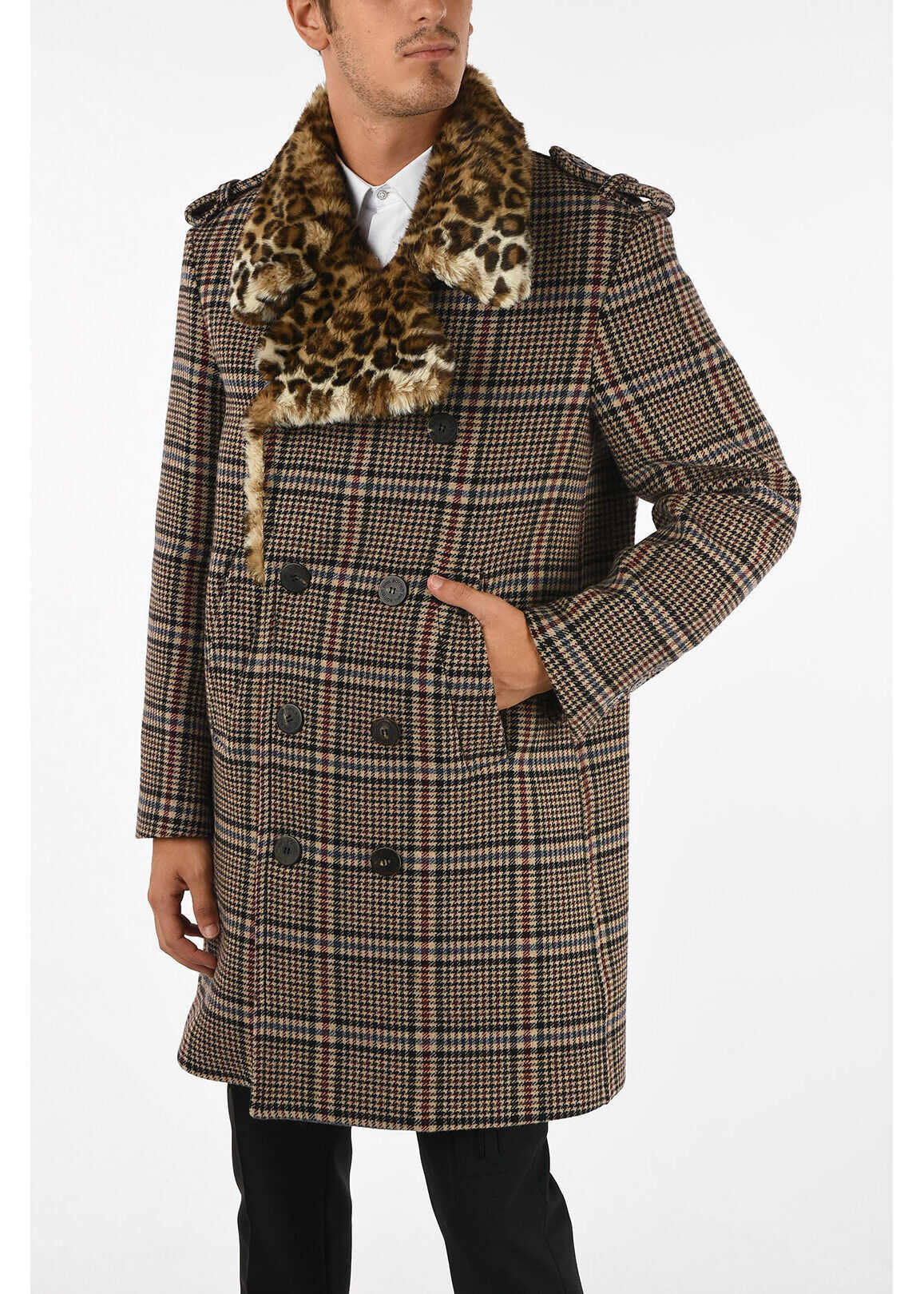 Neil Barrett Houndstooth Double Breasted Coat with Leopard Printed Faux F MULTICOLOR imagine