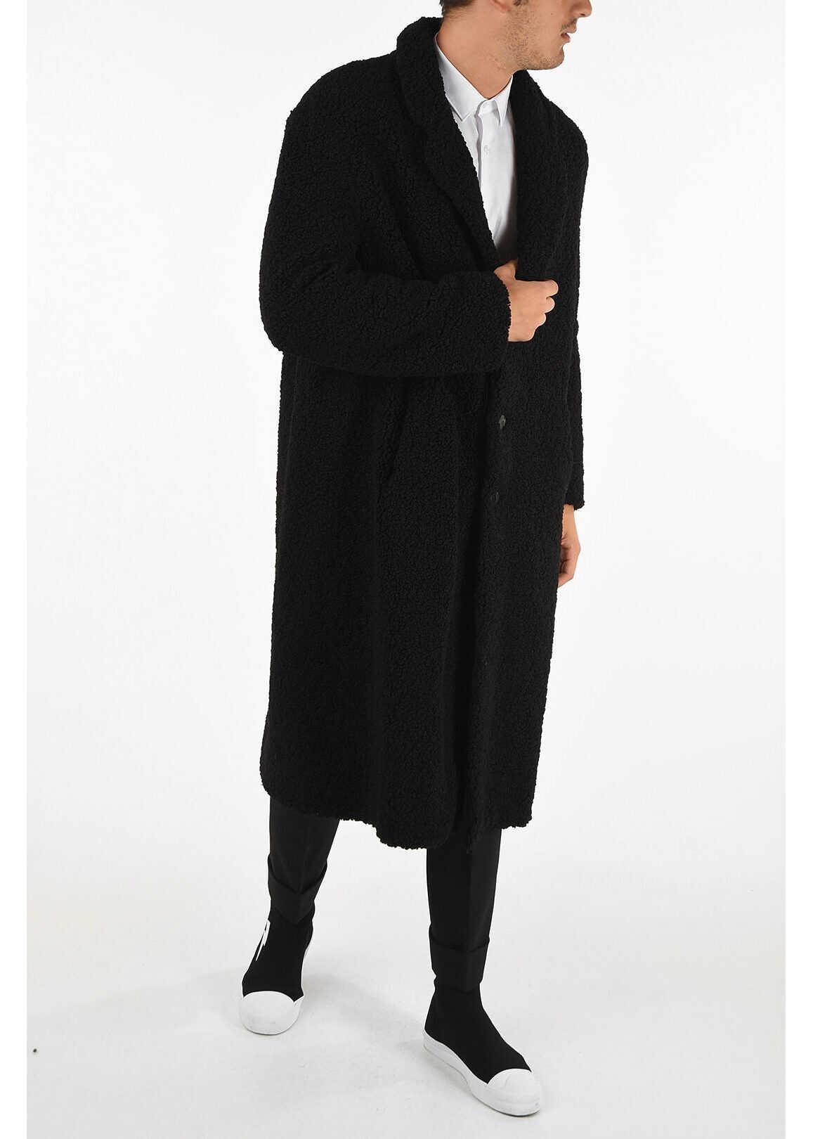 Neil Barrett Faux Fur Slim Fit Coat BLACK imagine