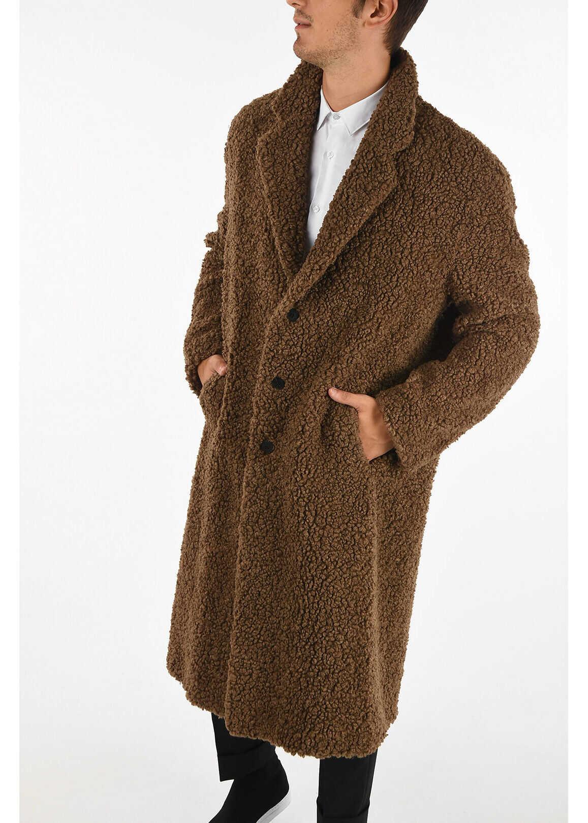Neil Barrett Faux Fur Slim Fit Coat BROWN imagine