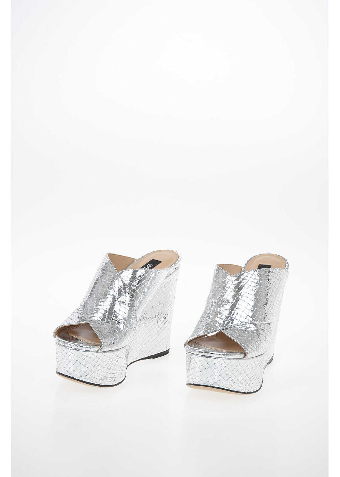 Sergio Rossi Reptile Printed Leather Sandal with Platform 12cm SILVER imagine b-mall.ro