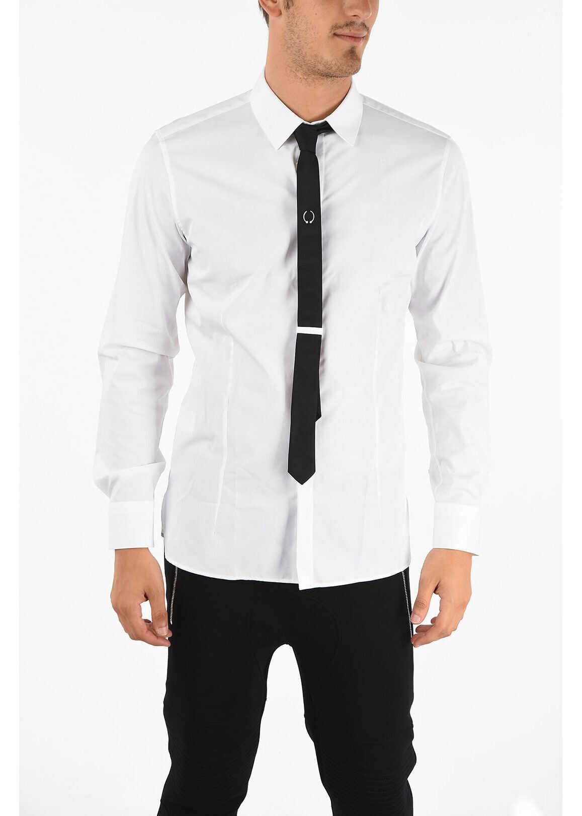 Neil Barrett Shirt with Tie WHITE imagine