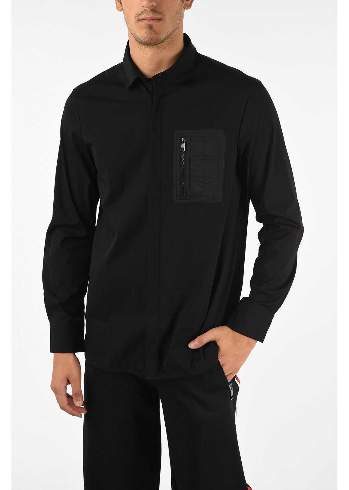 Neil Barrett Loose Fit Shirt with Hidden Buttons BLACK imagine