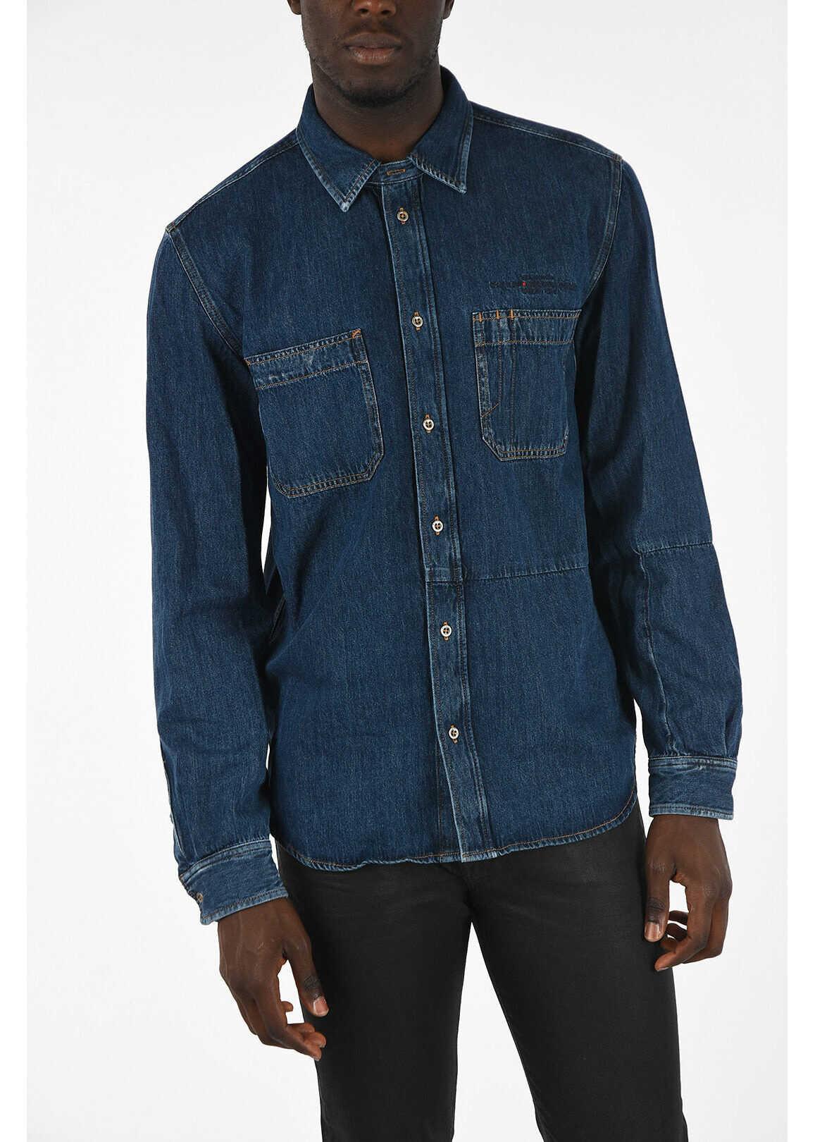 Diesel Denim D-FRED Shirt BLUE imagine