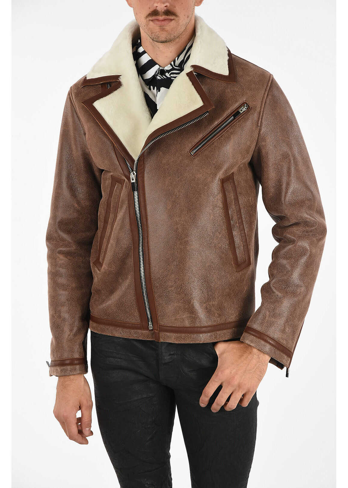 Just Cavalli Leather Biker Jacket BROWN imagine