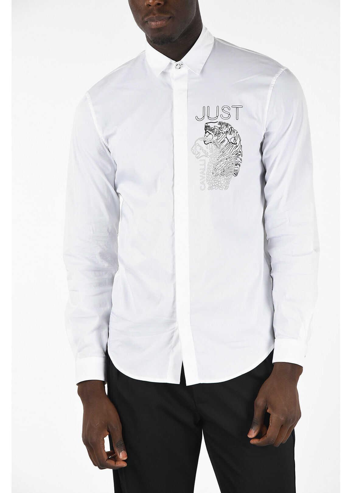 Just Cavalli Hidden Closure Classic Collar Shirt WHITE imagine