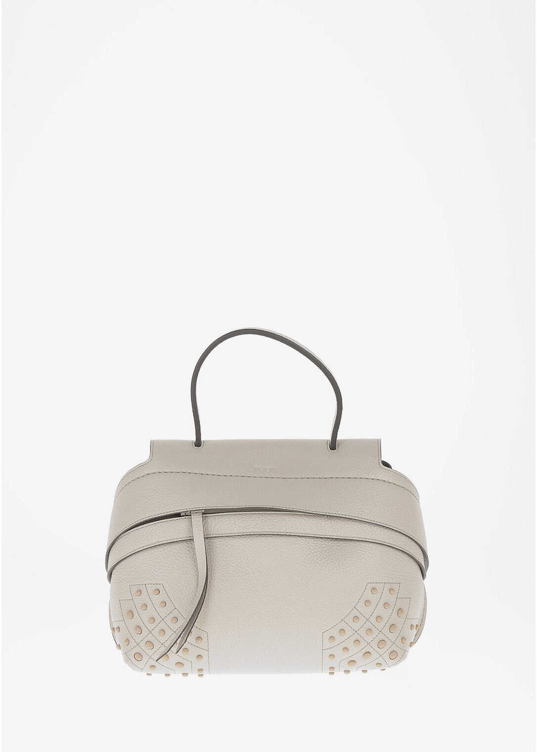 TOD'S Leather GOMMINI Shoulder Bag GRAY imagine b-mall.ro