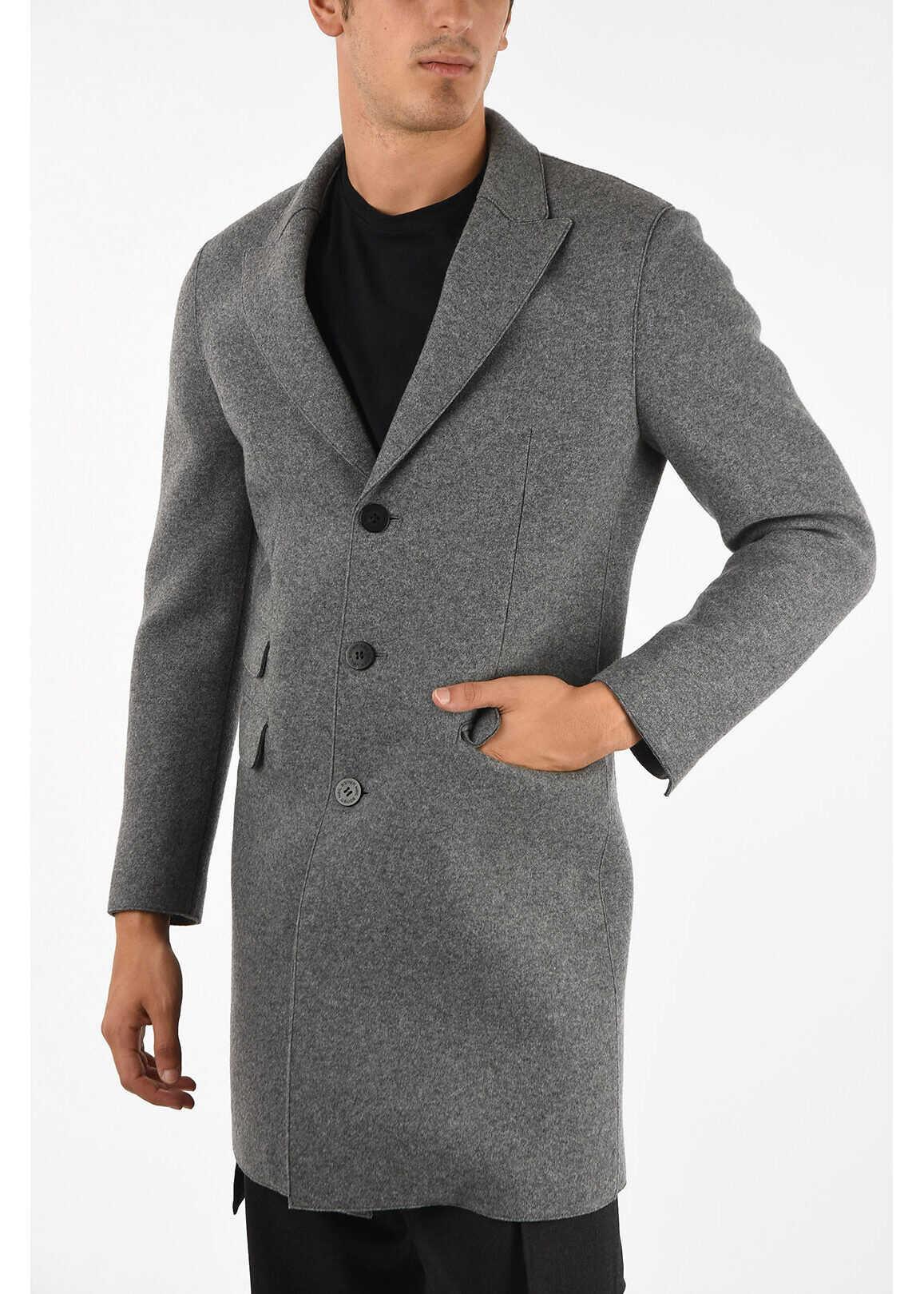Neil Barrett Skinny Fit 3 Button Coat GRAY imagine