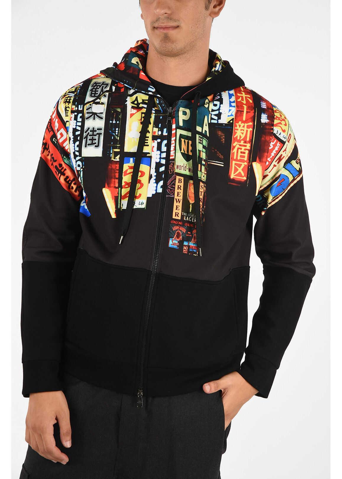 Neil Barrett Full Zip SHINJUKU SOHO Sweatshirt BLACK imagine