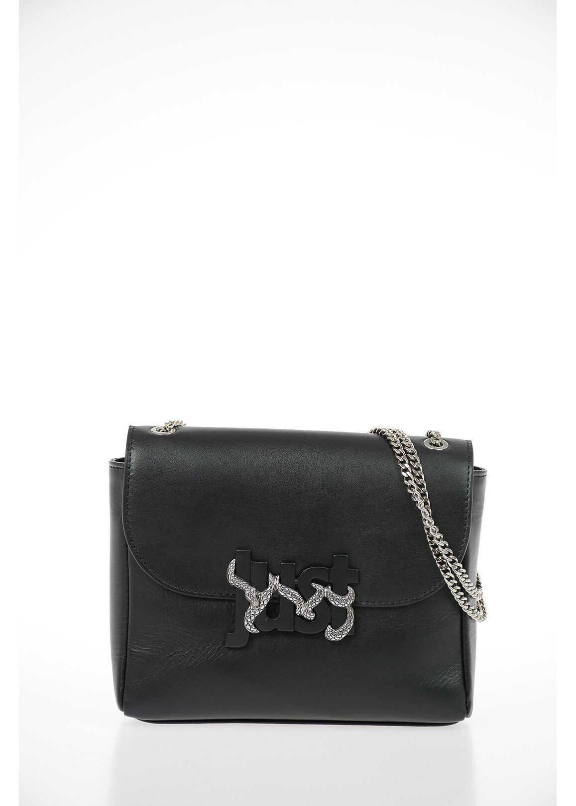 Just Cavalli Leather Shoulder Pochette BLACK imagine b-mall.ro