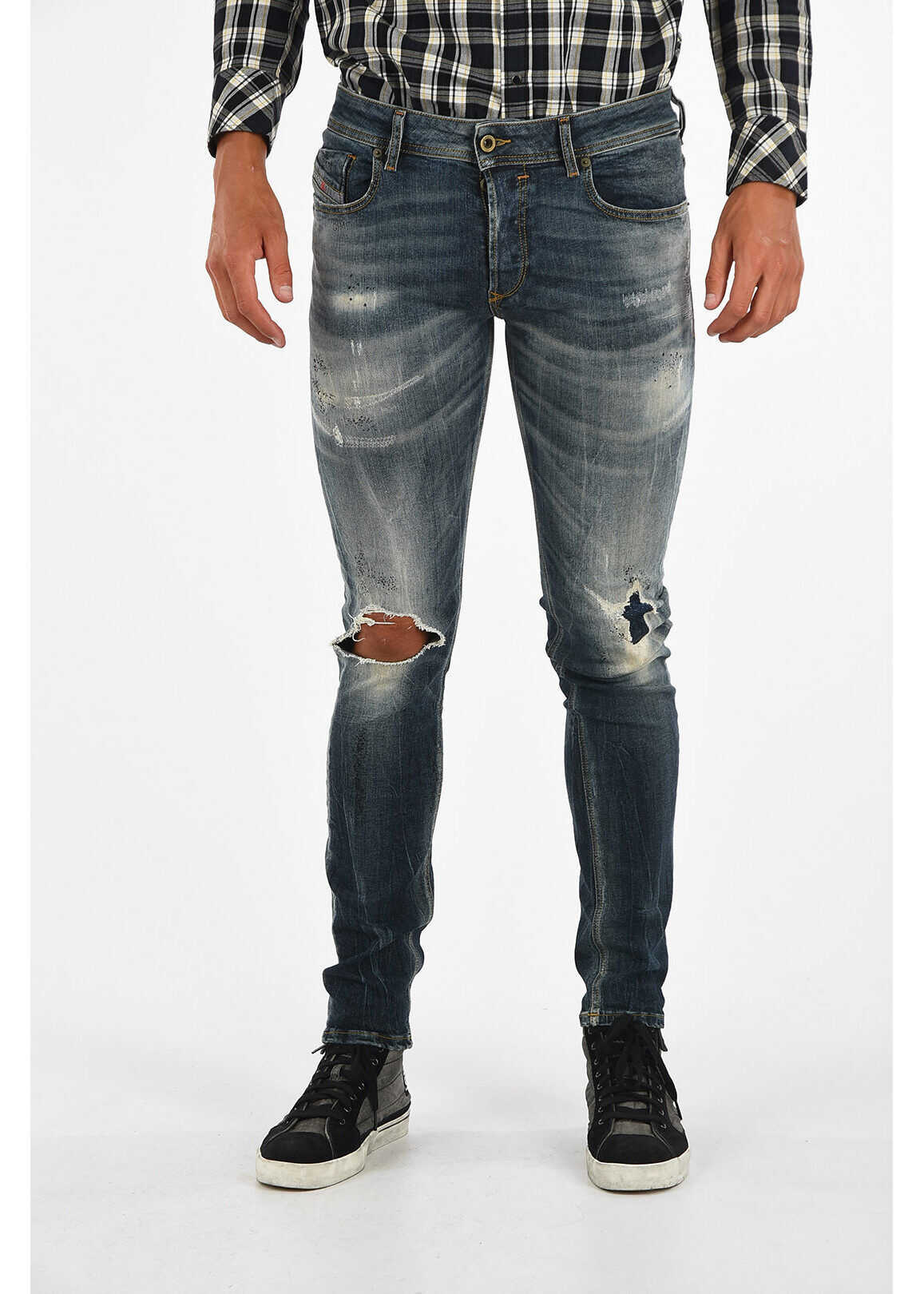 Diesel 15cm Distressed SLEENKER Jeans L32 BLUE imagine